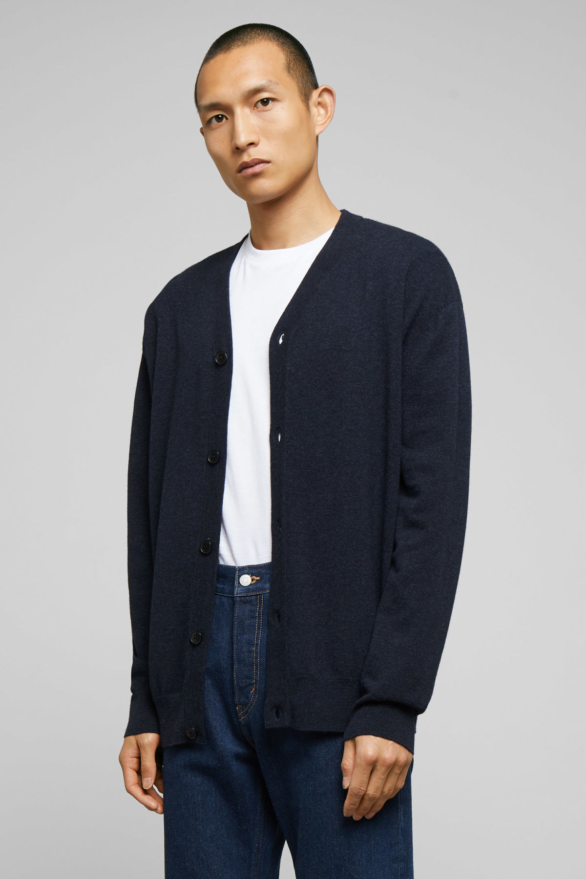 Model front image of Weekday morgan cardigan in blue