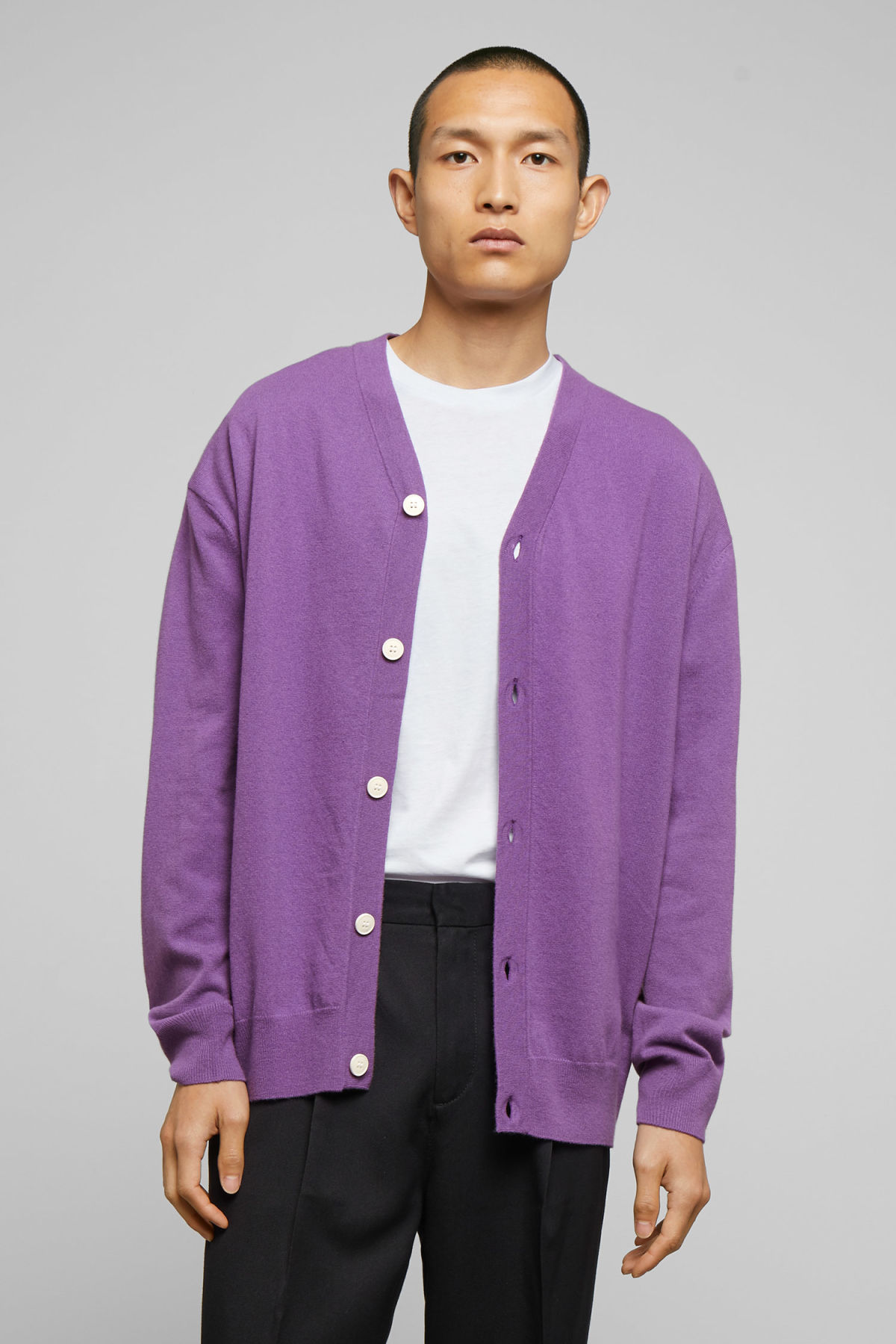 Model front image of Weekday morgan cardigan in purple