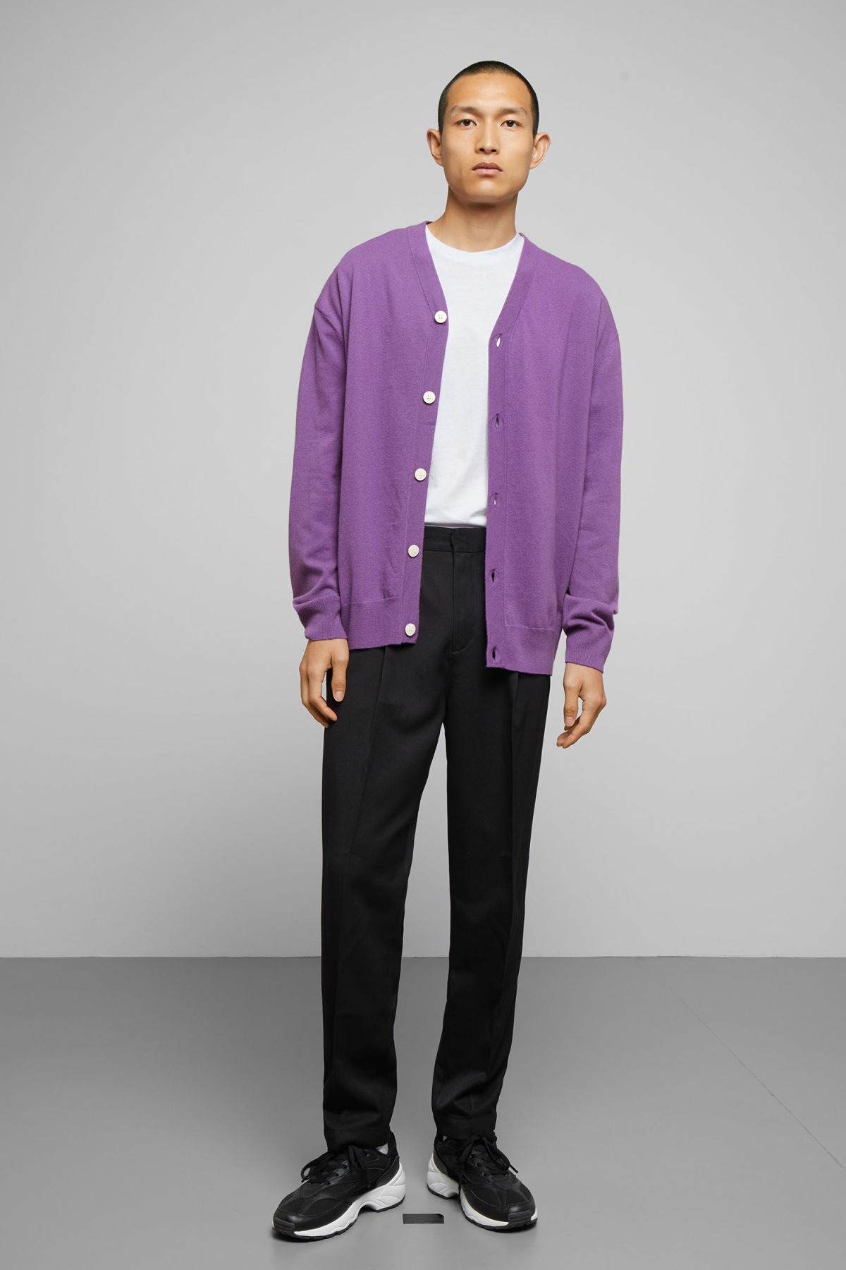 Model side image of Weekday morgan cardigan in purple