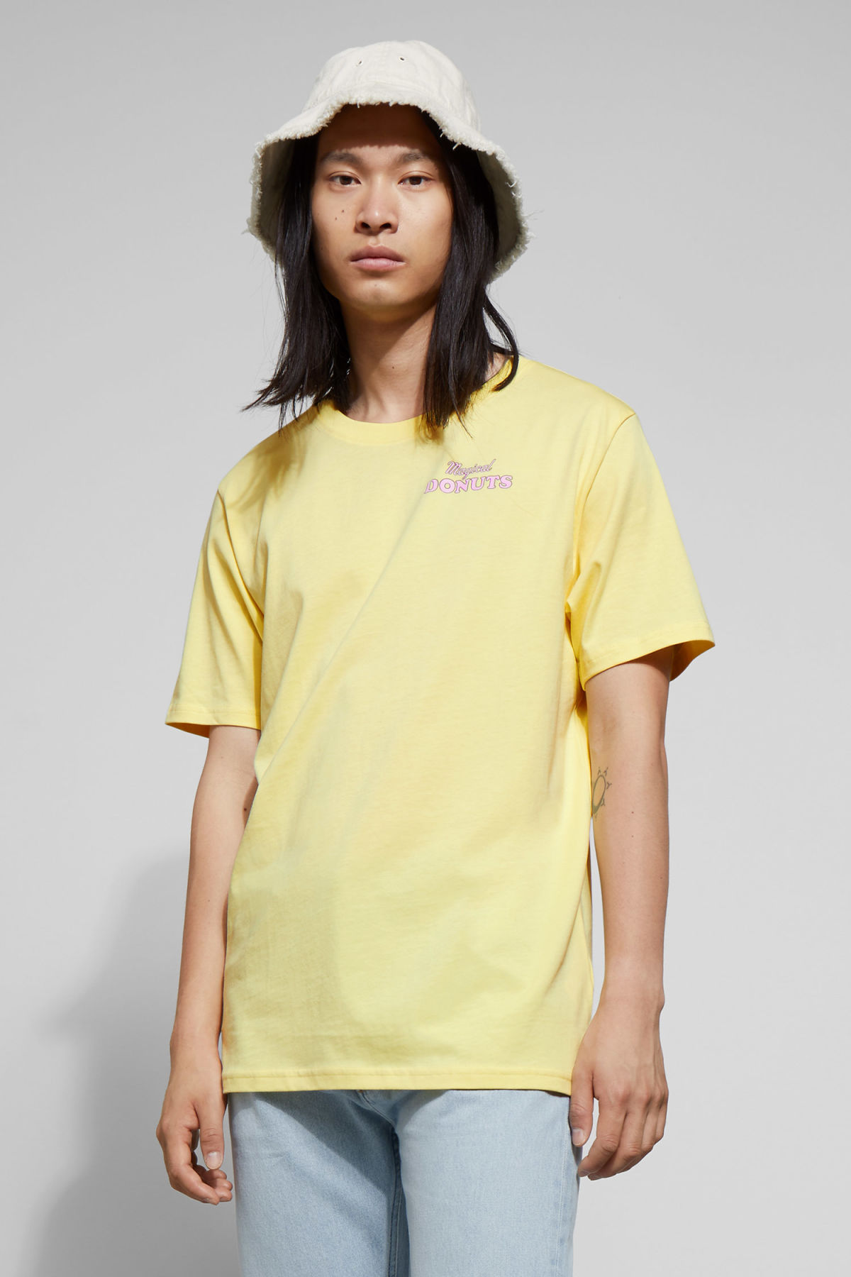 Model front image of Weekday frank donuts t-shirt in yellow