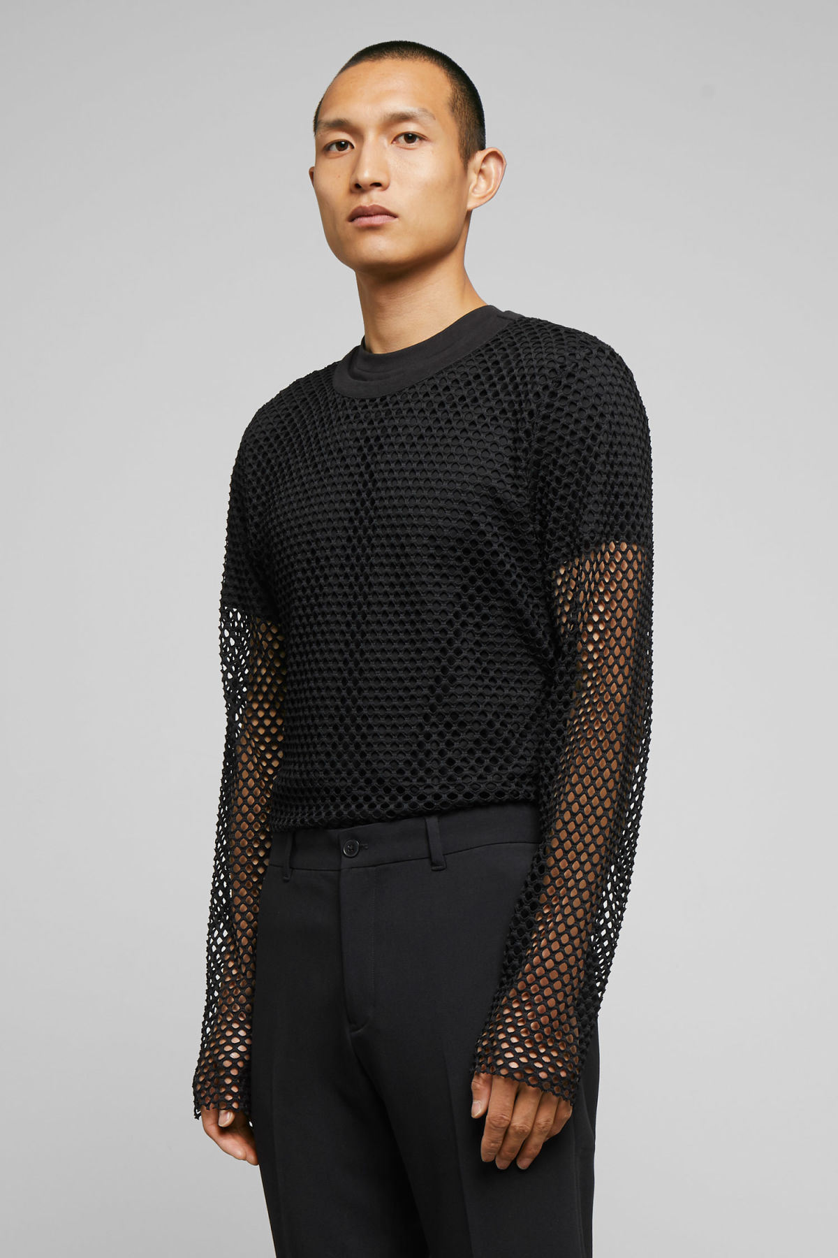 Model front image of Weekday chain mesh long sleeve in black