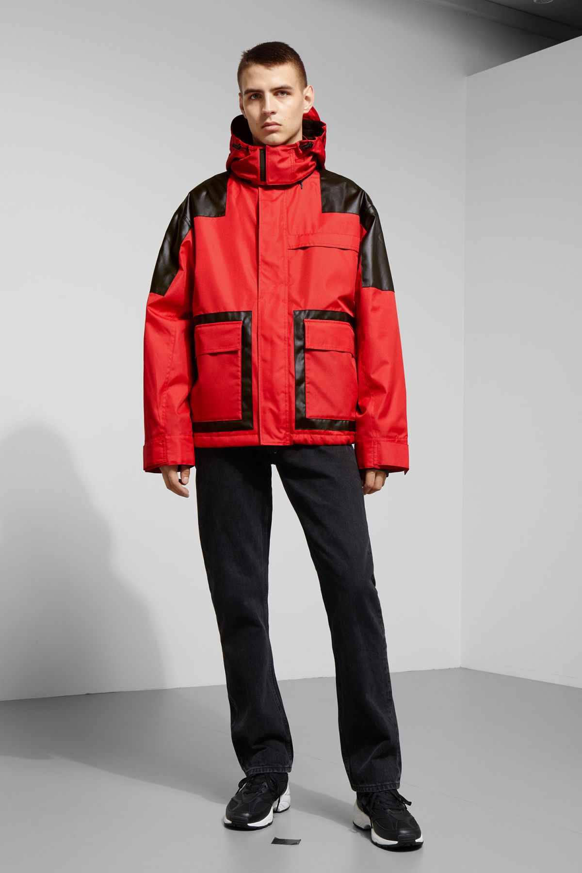 Model side image of Weekday brumal jacket in red