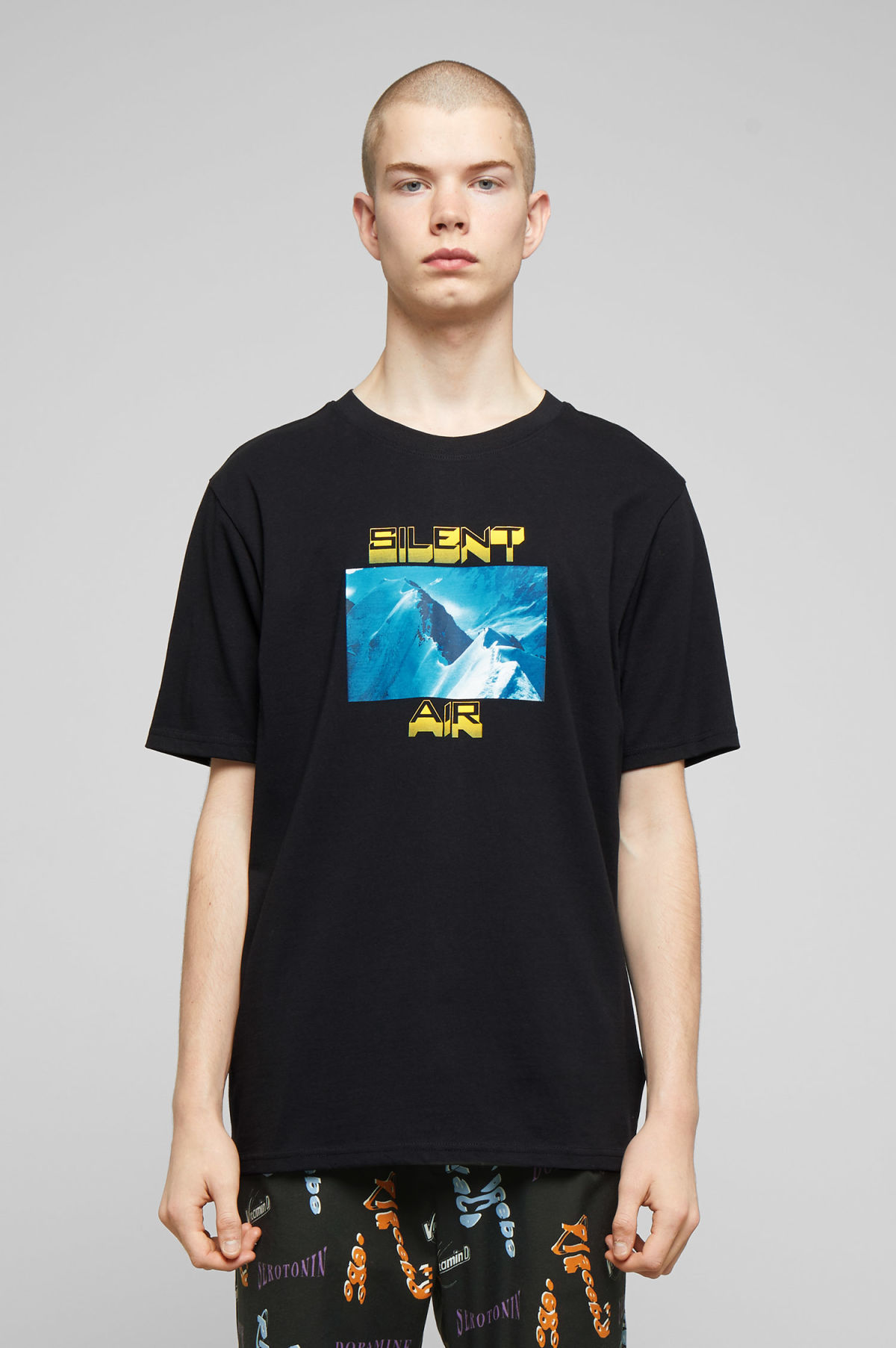 Model front image of Weekday frank silent t-shirt in black