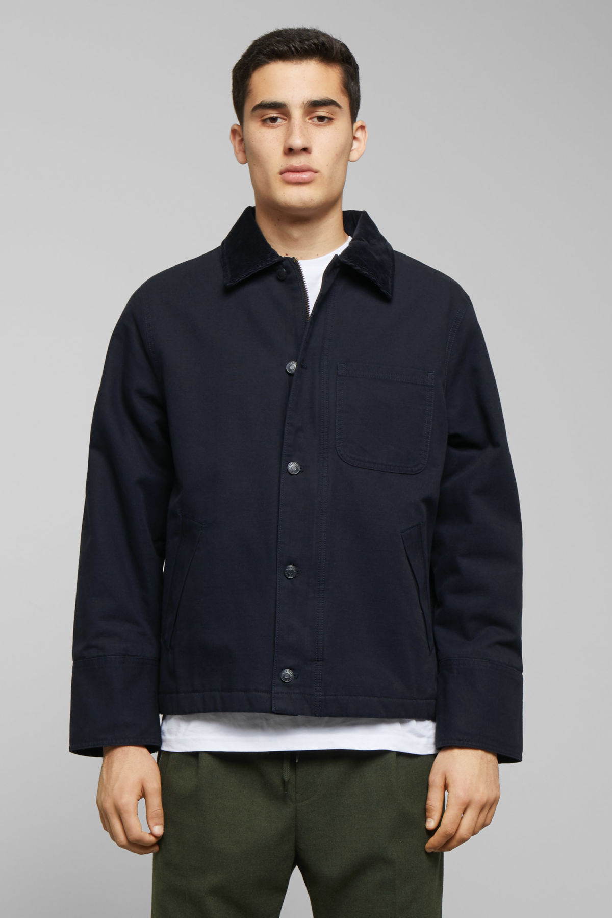 Model front image of Weekday andrej jacket in blue