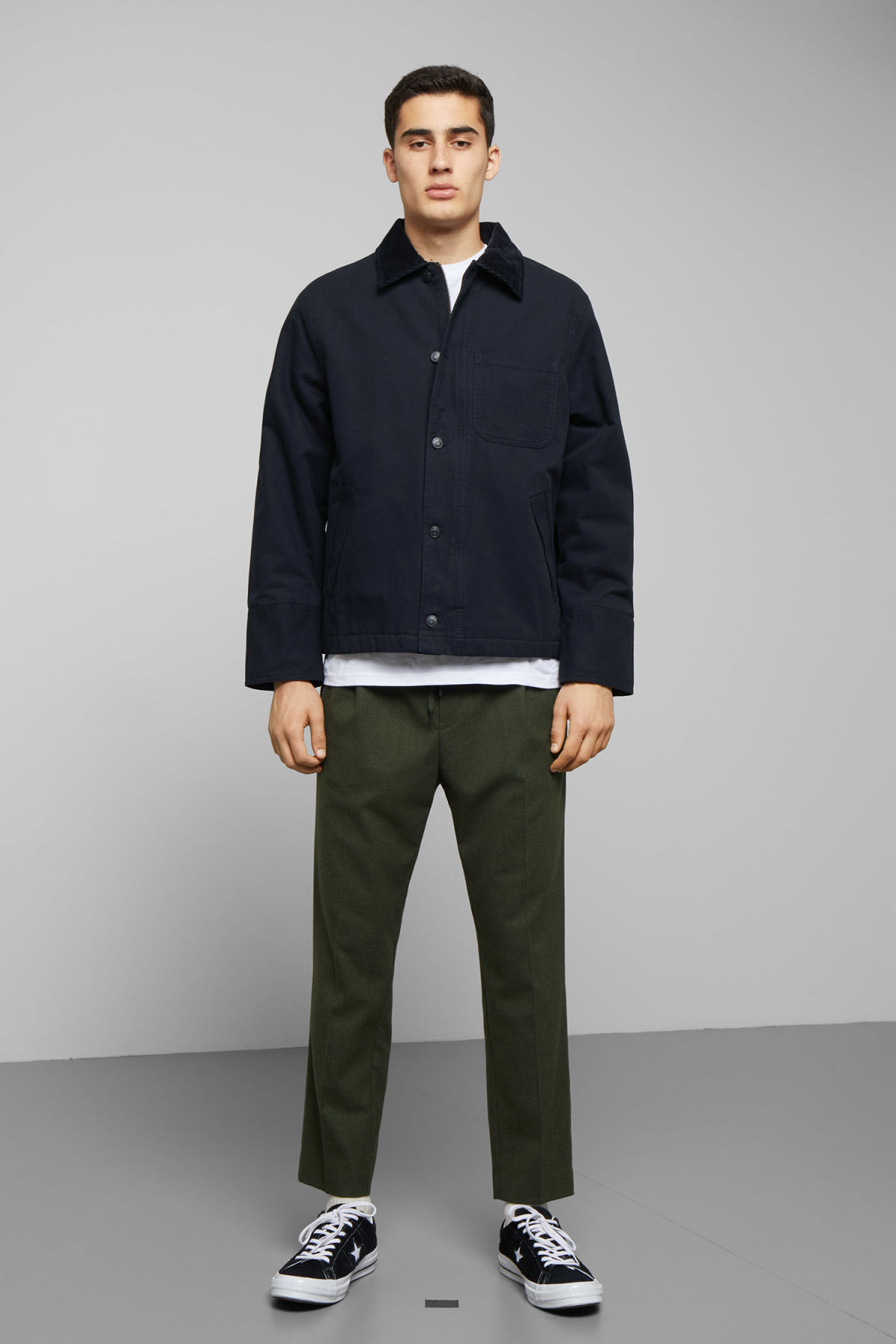 Model side image of Weekday andrej jacket in blue