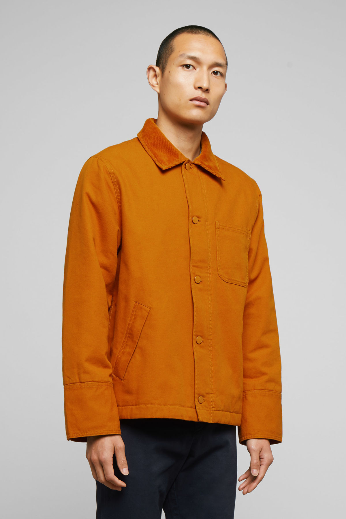 Model front image of Weekday andrej jacket in yellow