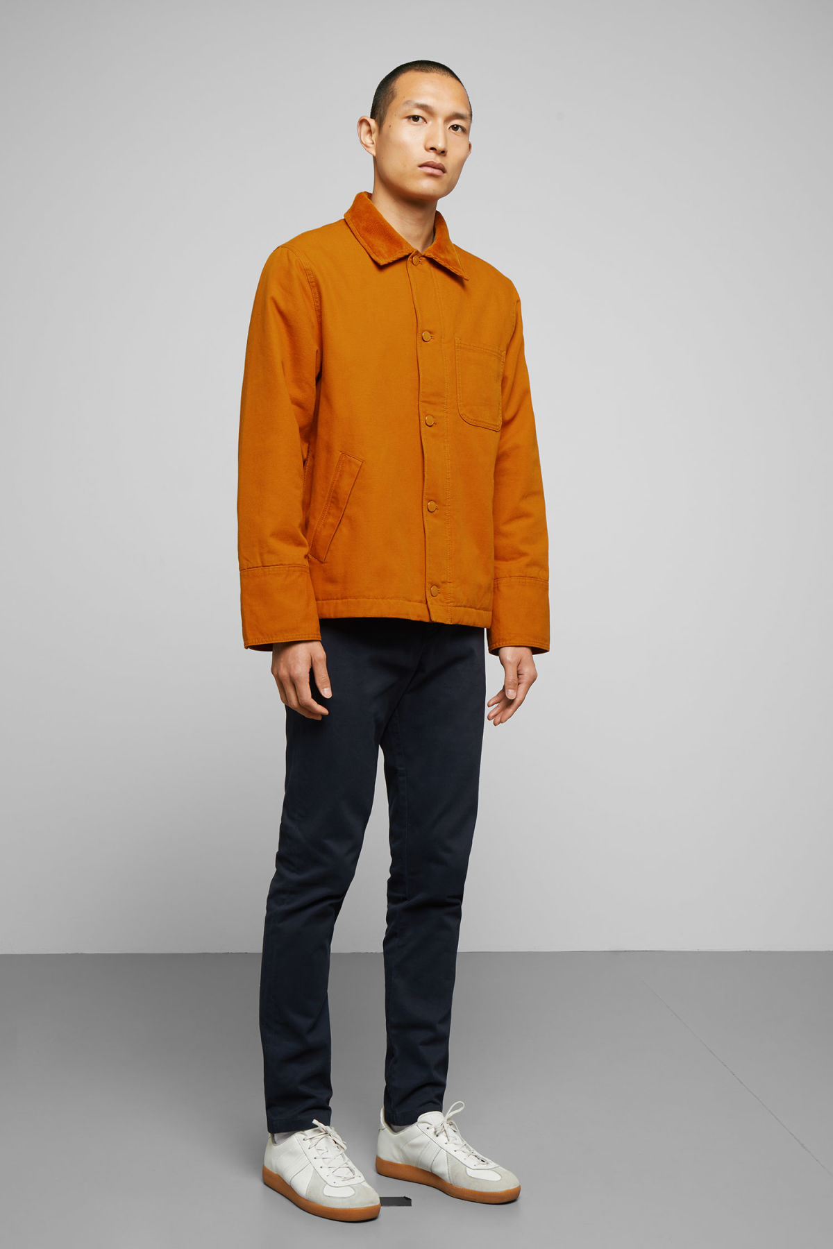 Model side image of Weekday andrej jacket in yellow