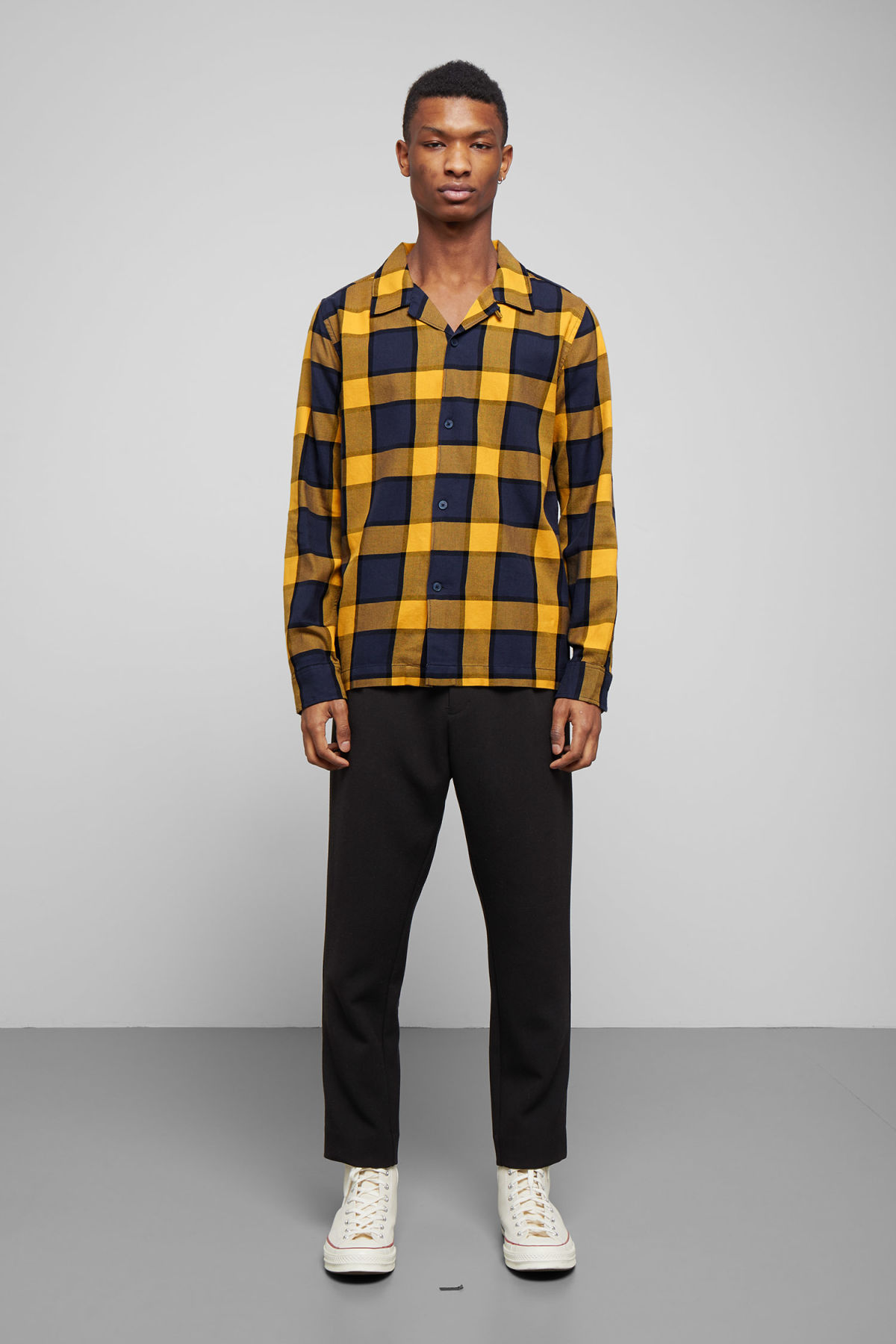 Model side image of Weekday malte check shirt in blue