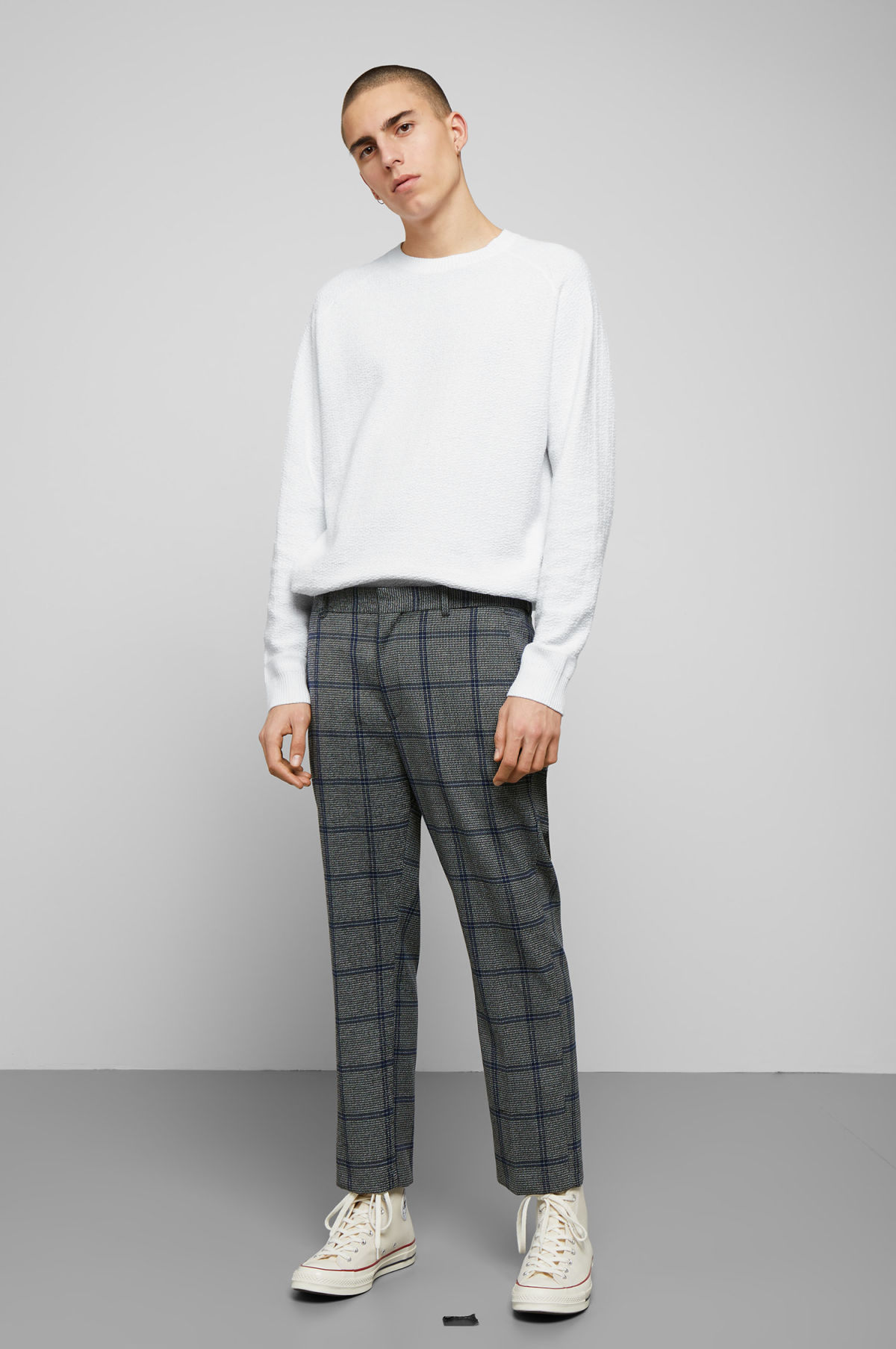 Model front image of Weekday charlie checked trousers  in black