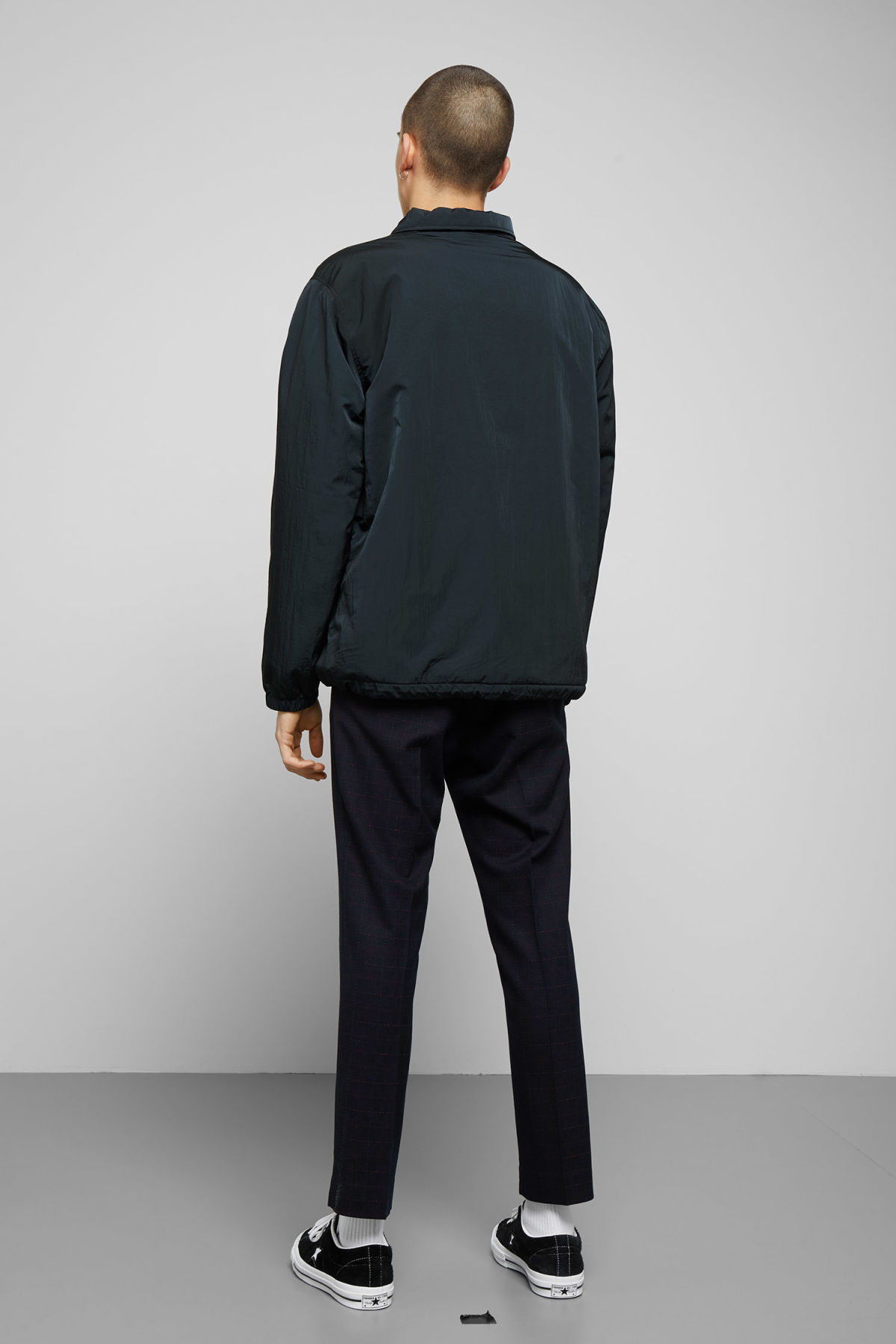 Model side image of Weekday bob coach jacket in blue