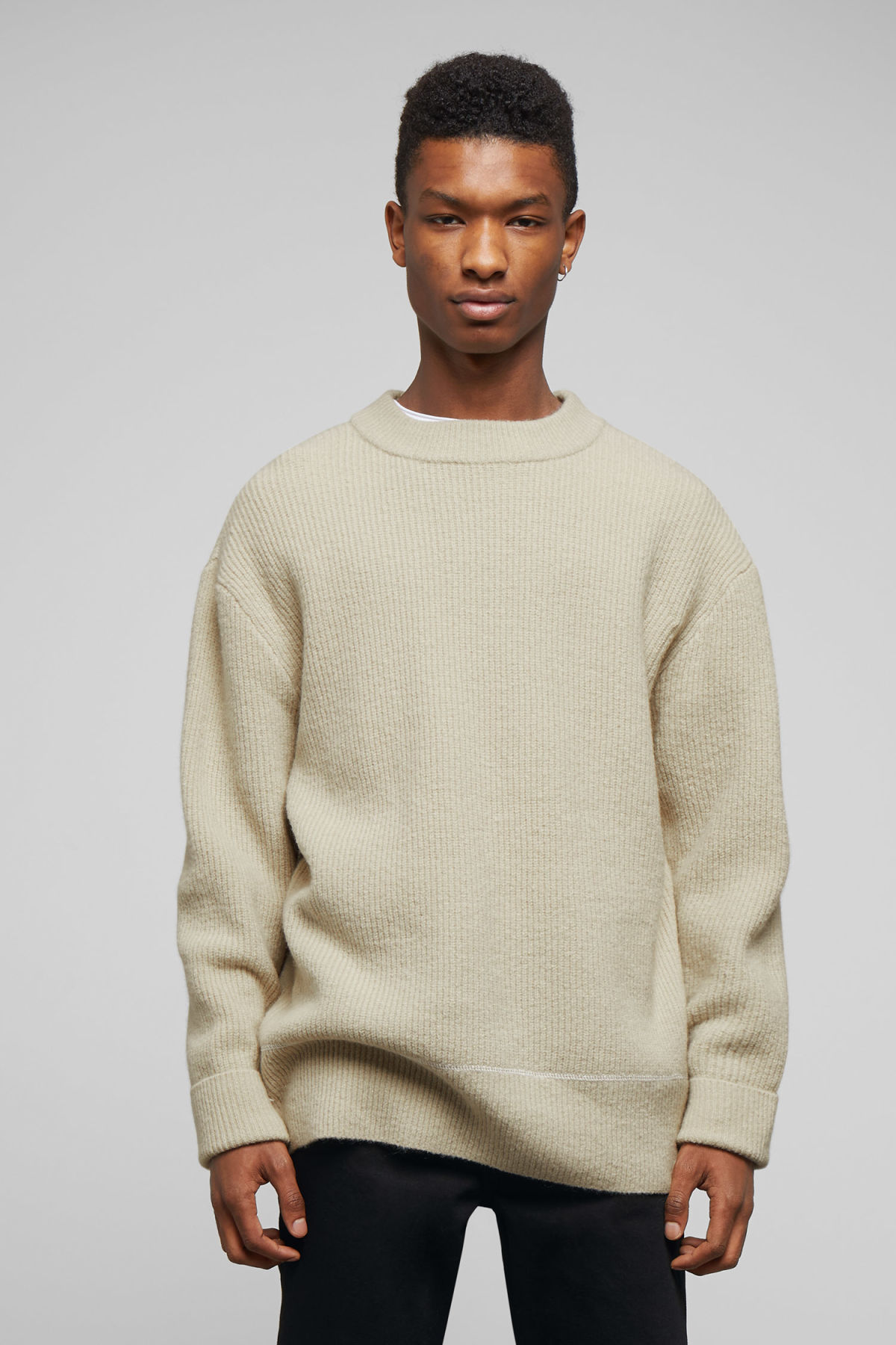 Model front image of Weekday marco sweater in beige