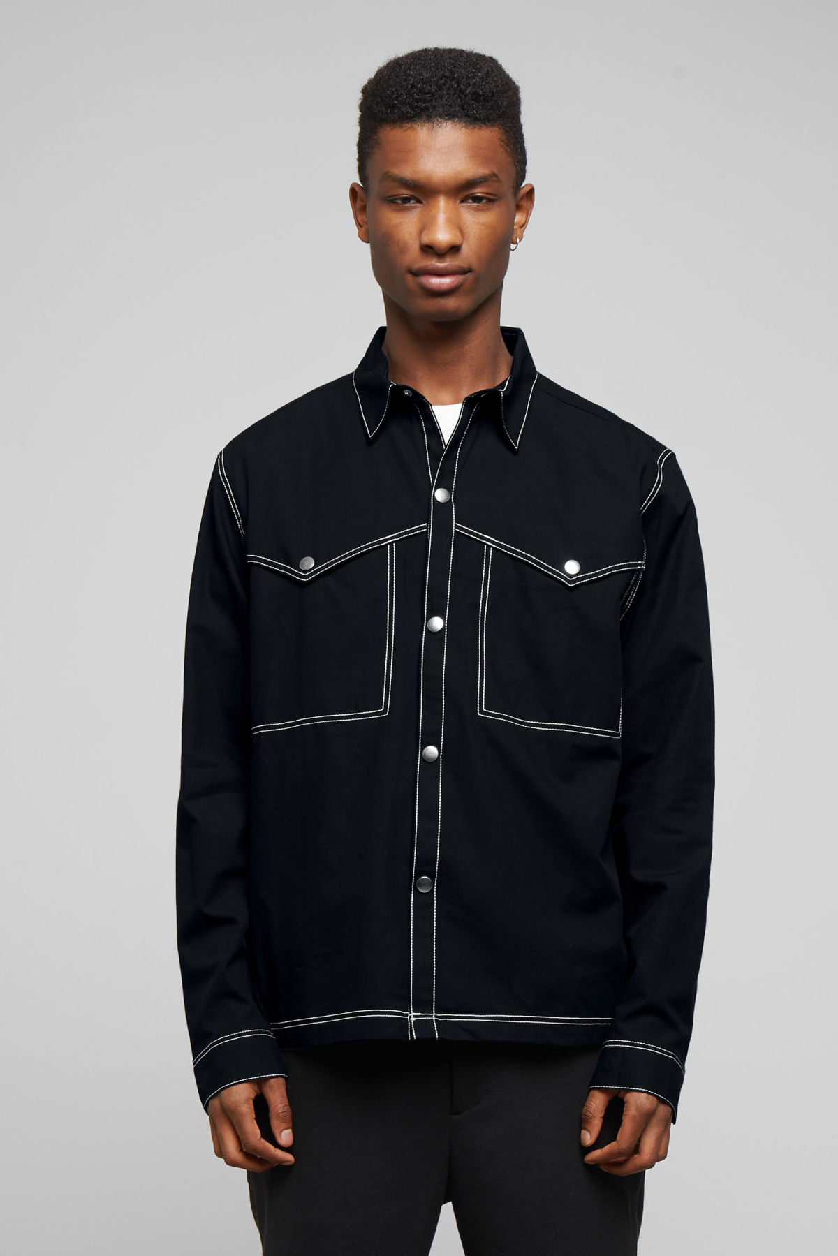 Model front image of Weekday spin shirt in black