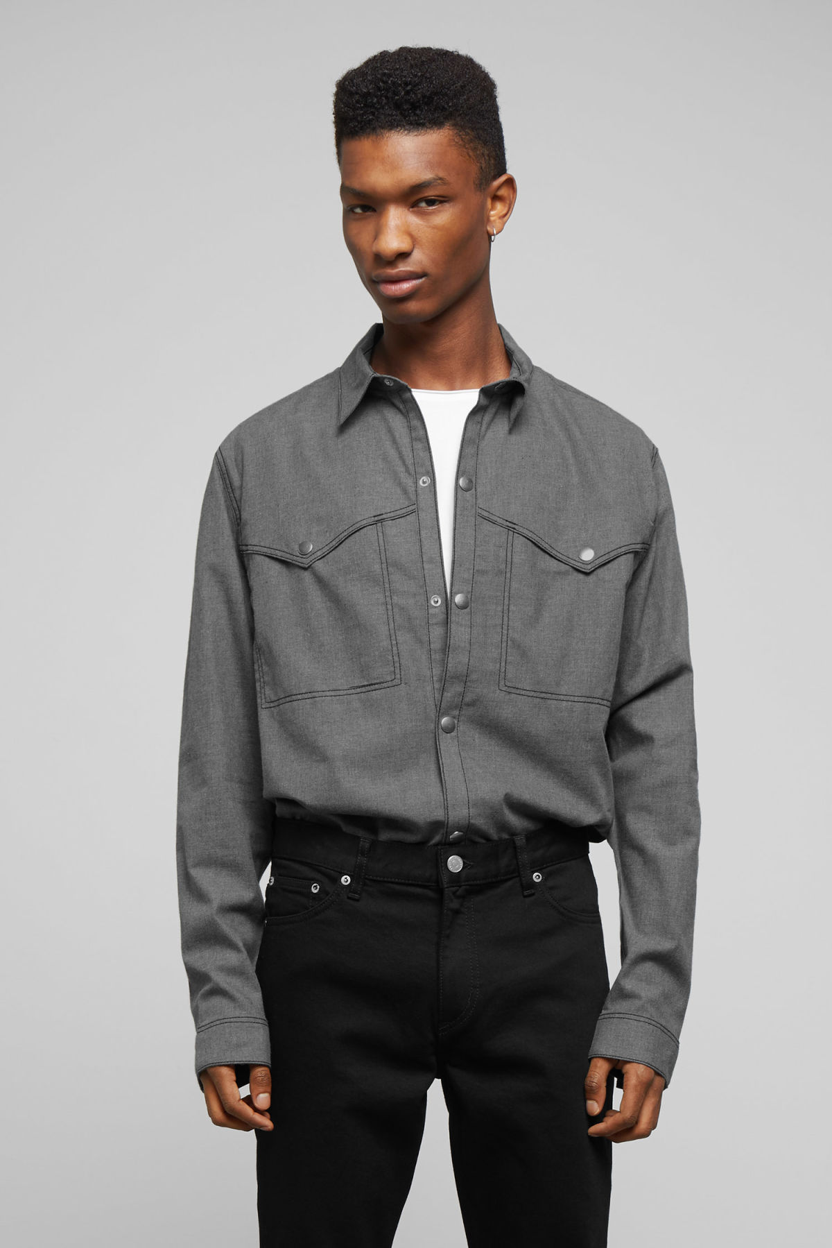 Model front image of Weekday spin shirt in grey