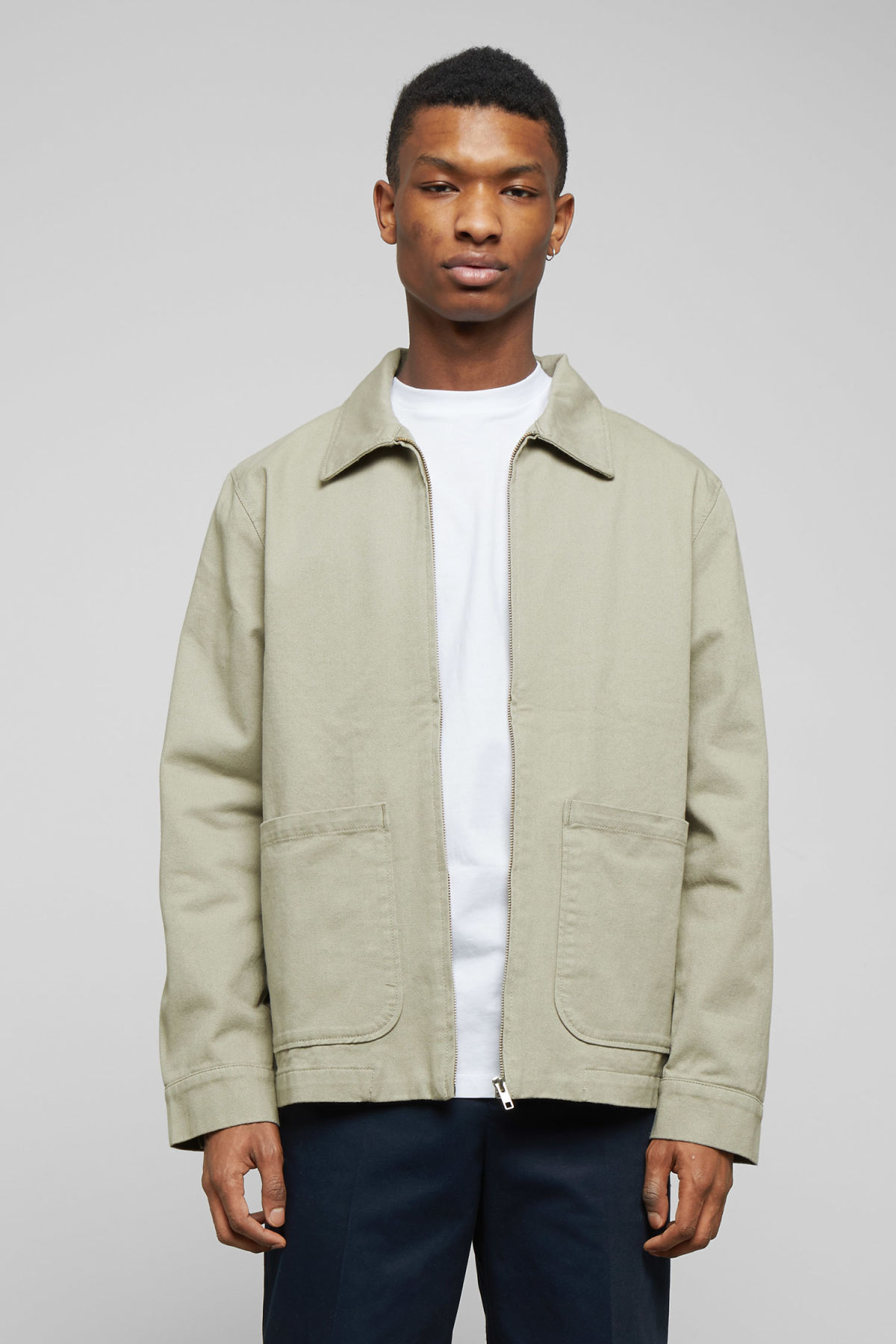 Model front image of Weekday camp washed jacket in green