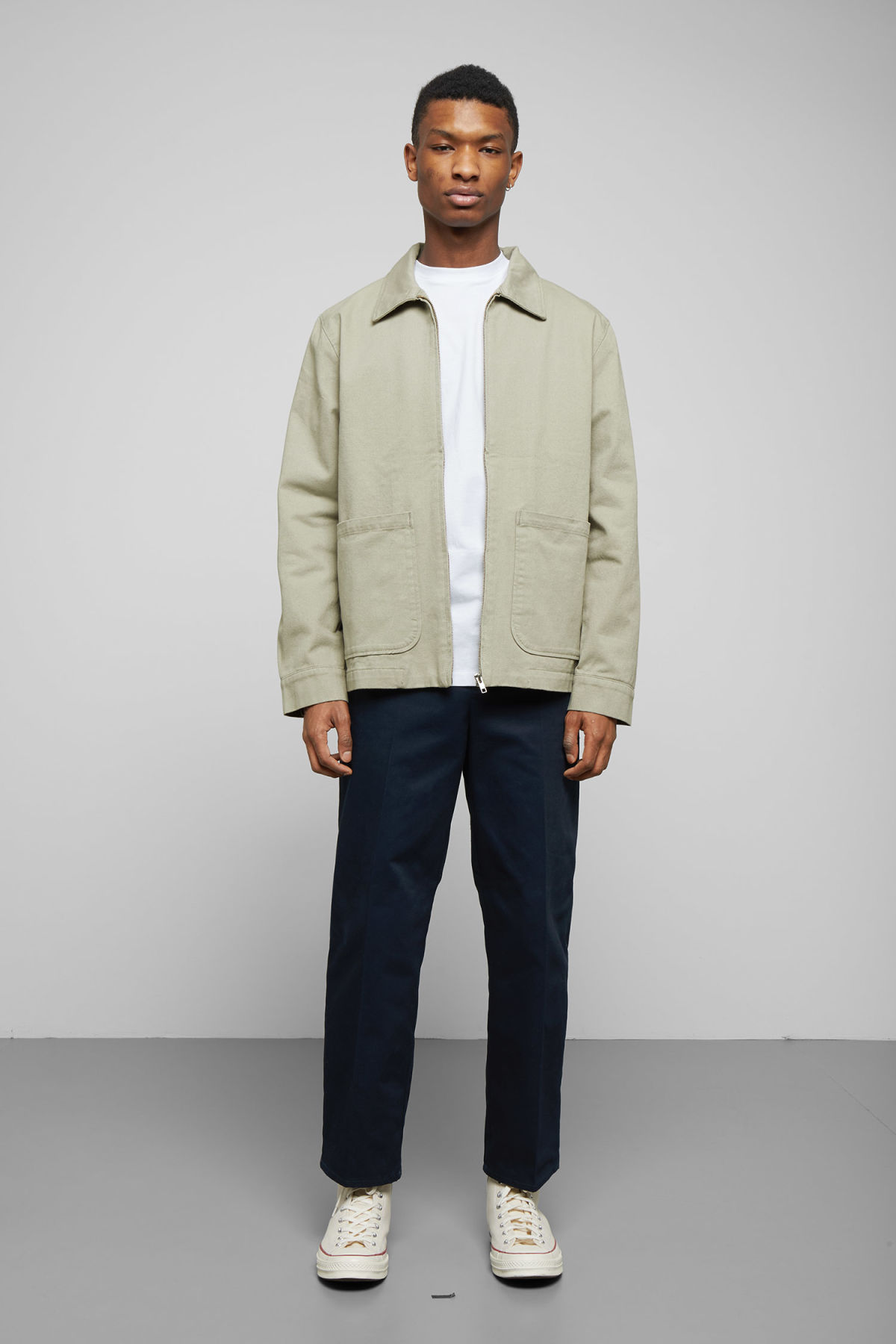 Model side image of Weekday camp washed jacket in green