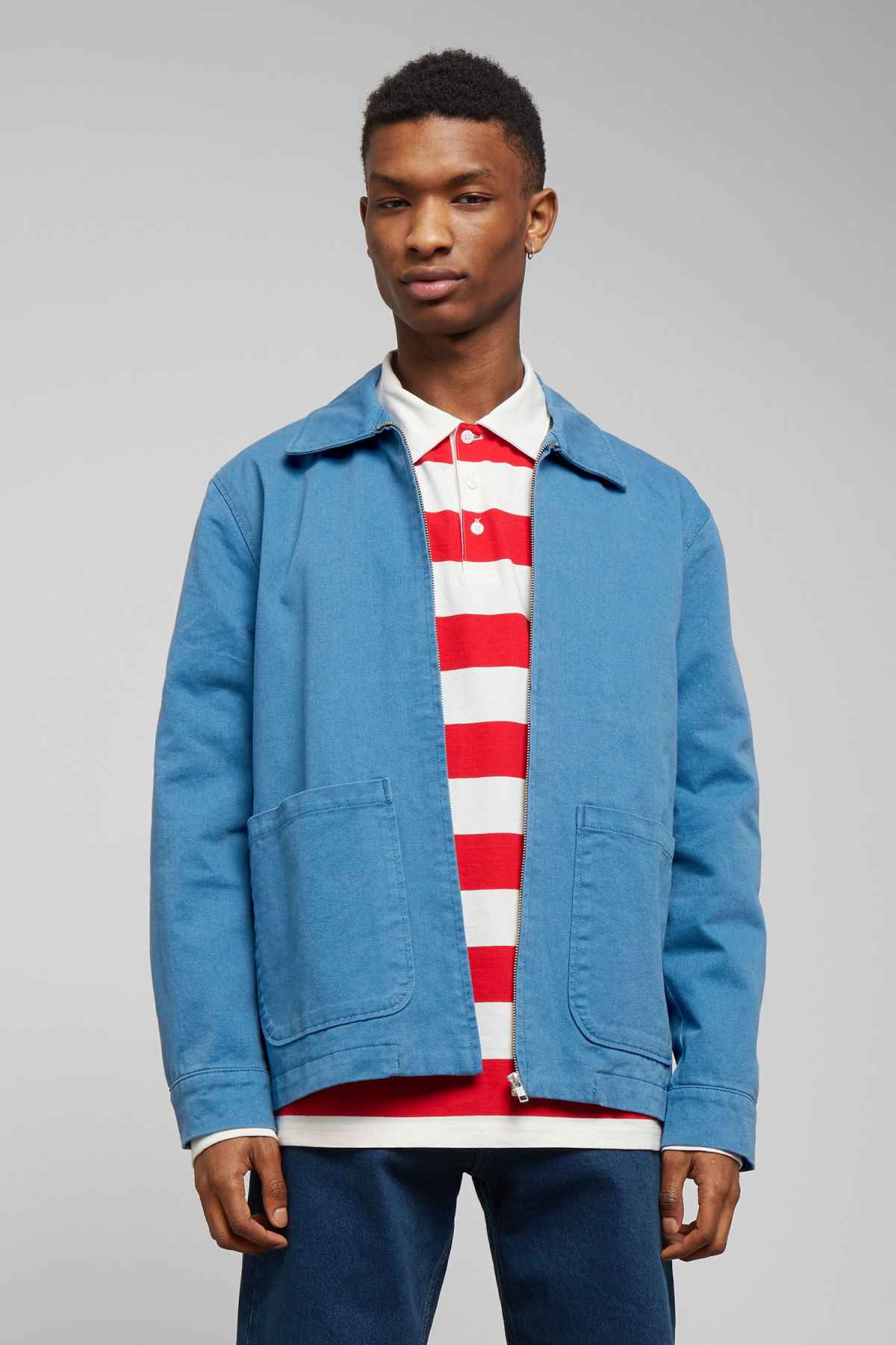 Model front image of Weekday camp washed jacket in blue
