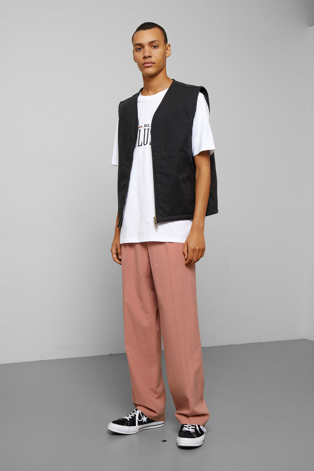 Model side image of Weekday emanuel canvas vest in black