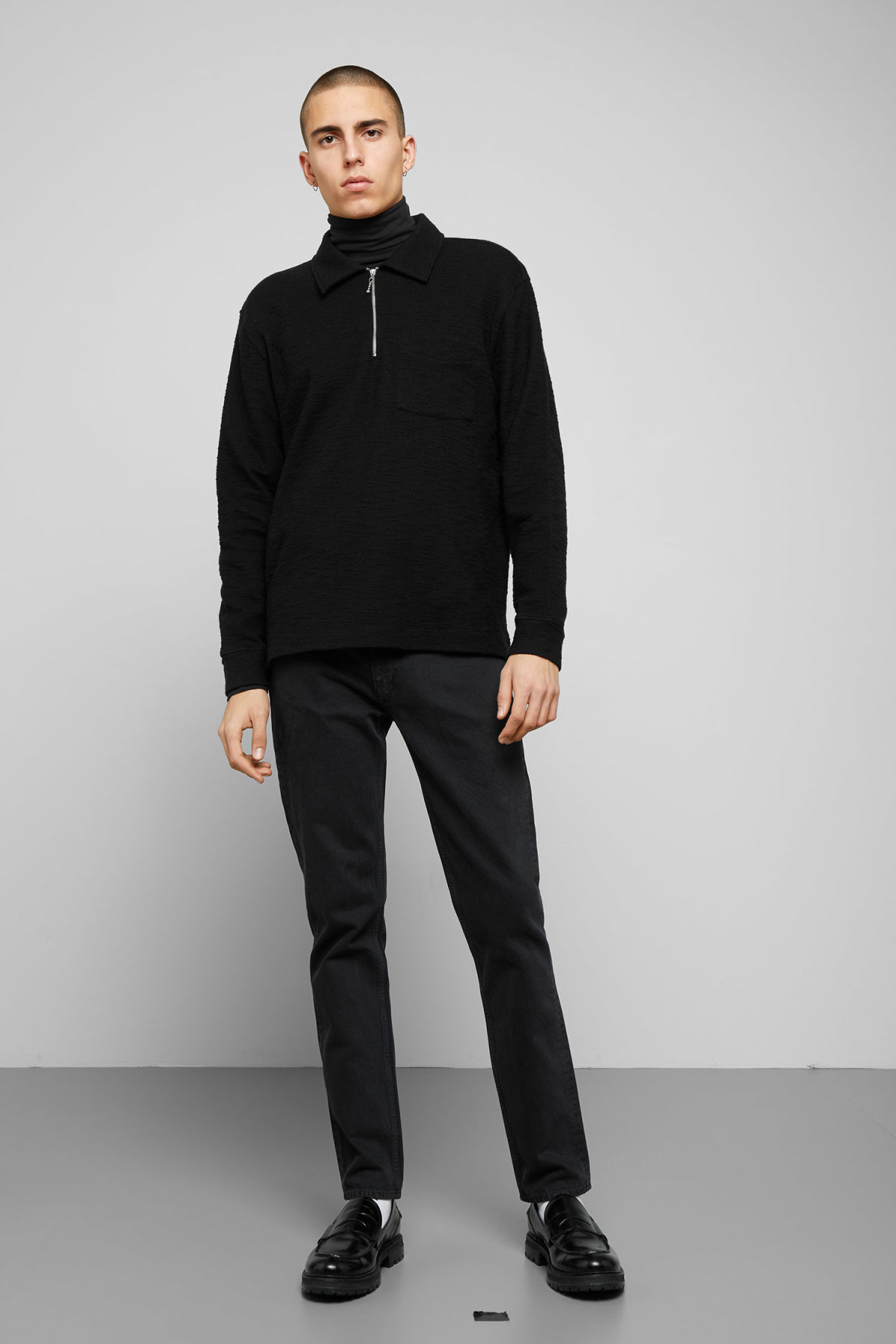 Model side image of Weekday nilo shawl collar in black