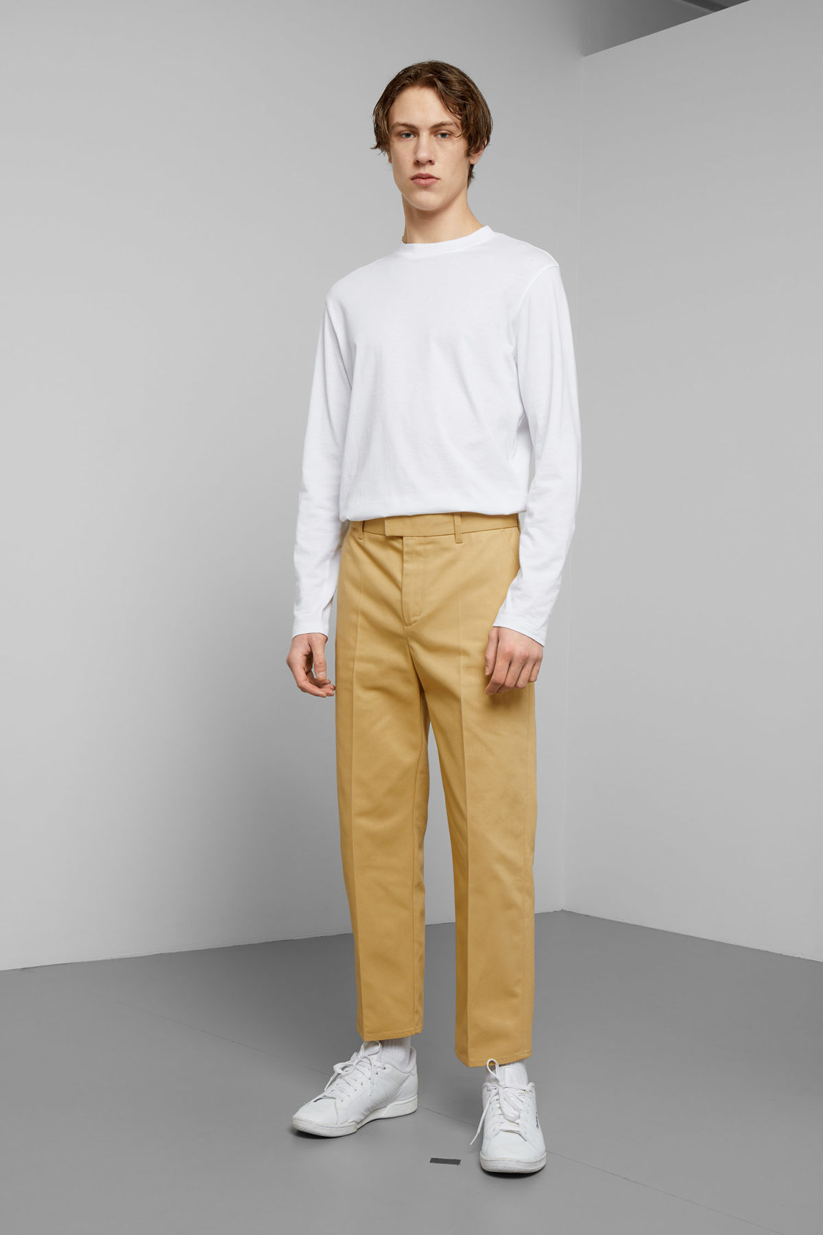 Model front image of Weekday tucker trousers in yellow