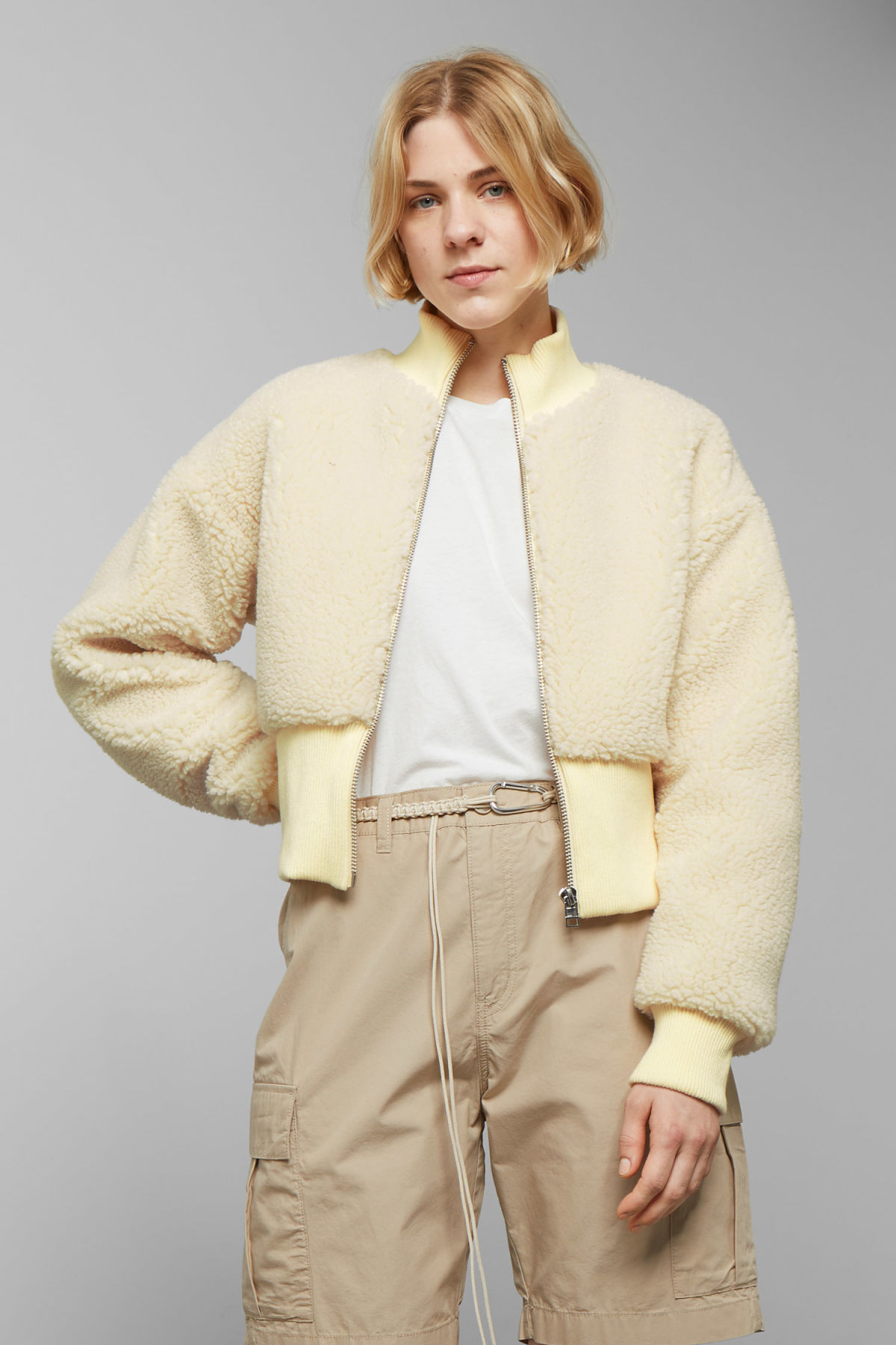 Model front image of Weekday dekota pile jacket in white