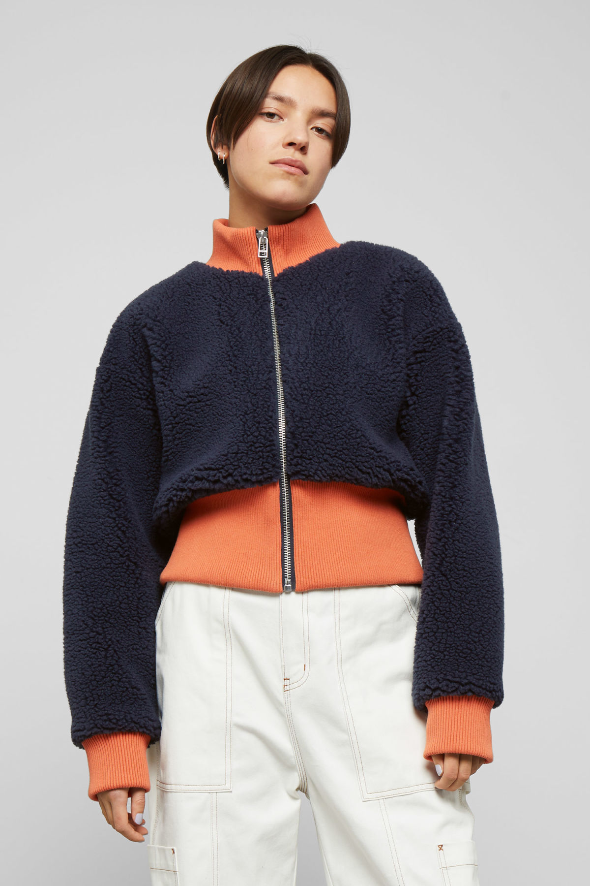 Model front image of Weekday dekota pile jacket in blue