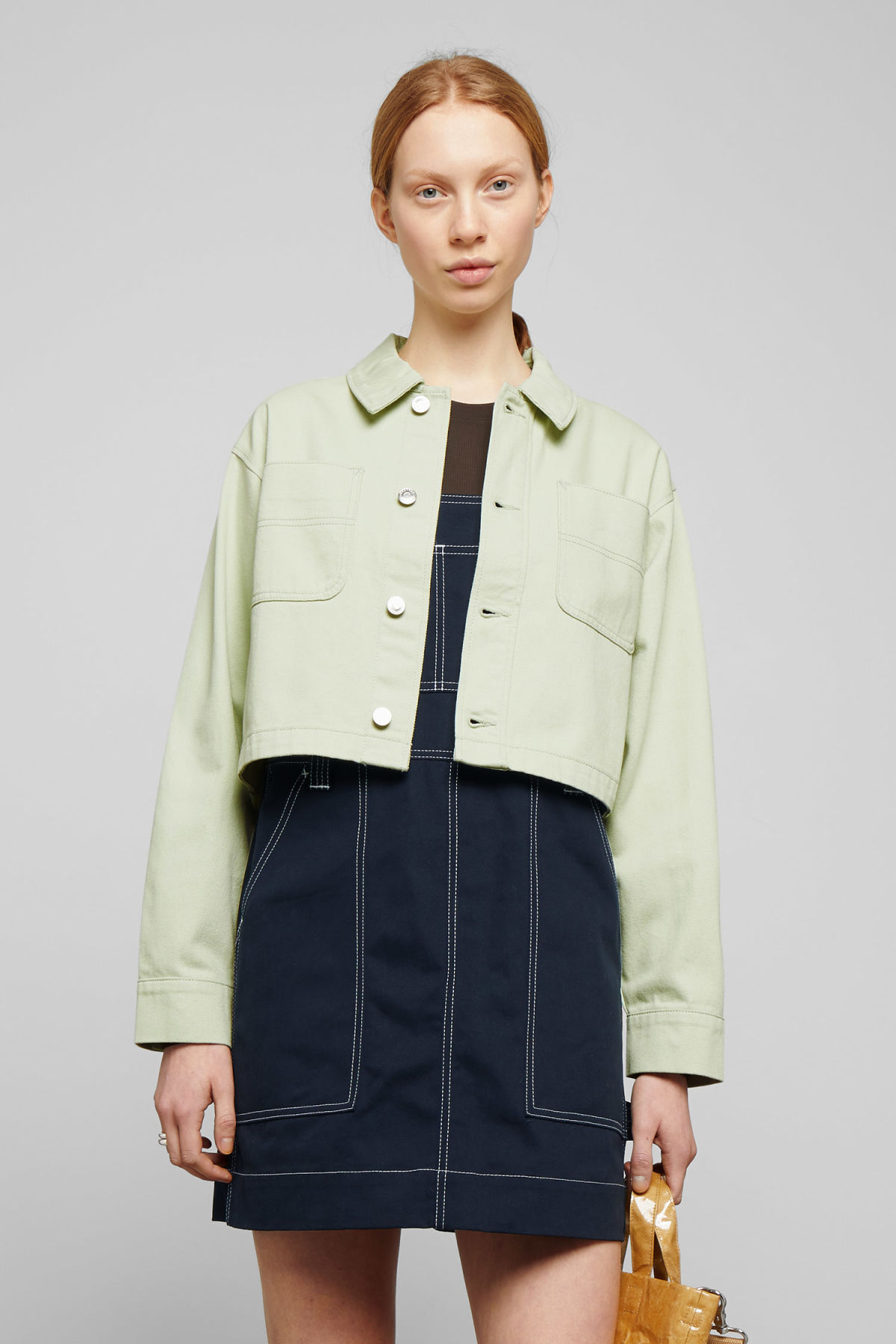 Model front image of Weekday marybeth jacket in green