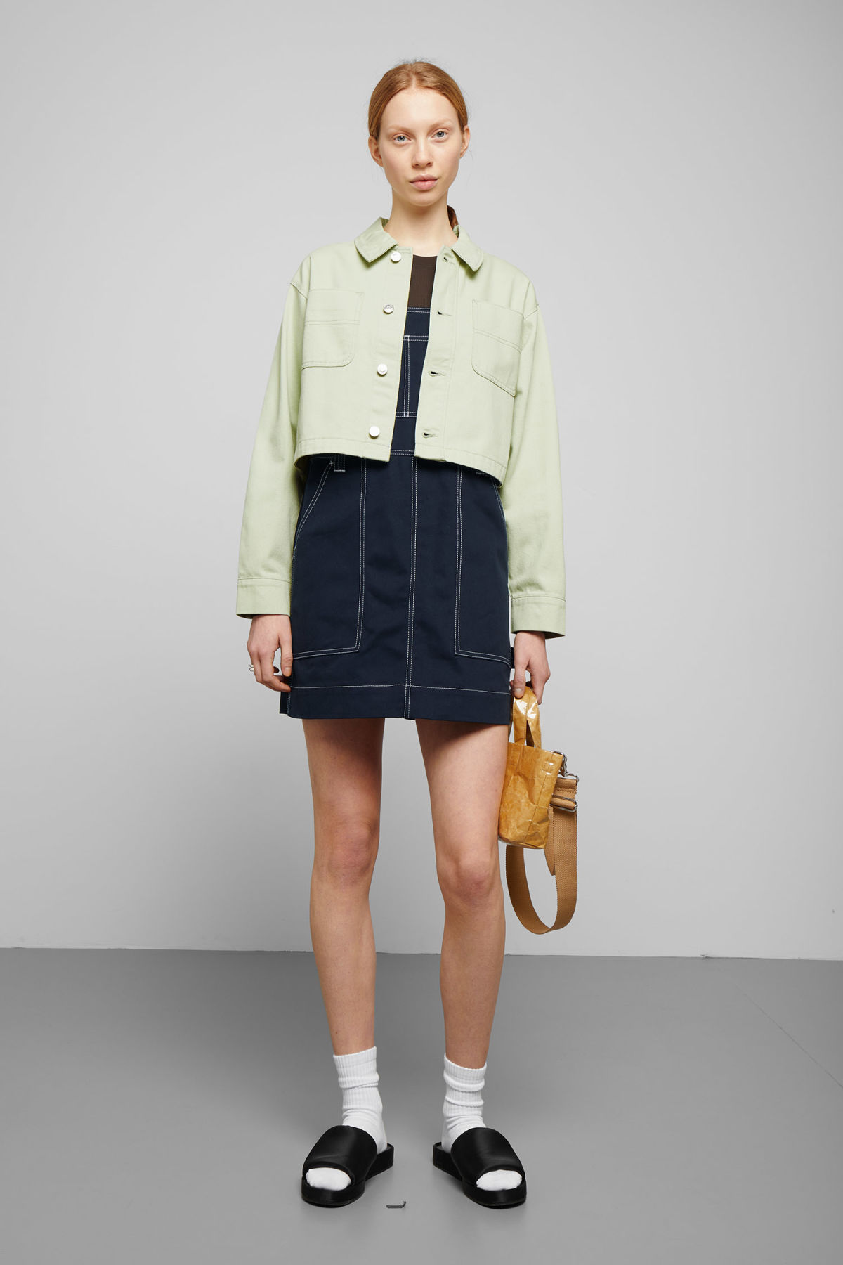 Model side image of Weekday marybeth jacket in green