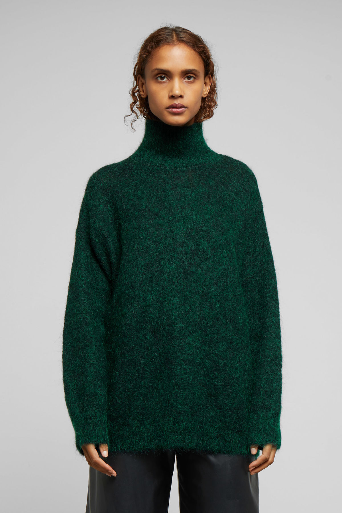 Model front image of Weekday hailey wool and mohair blend turtleneck in turquoise