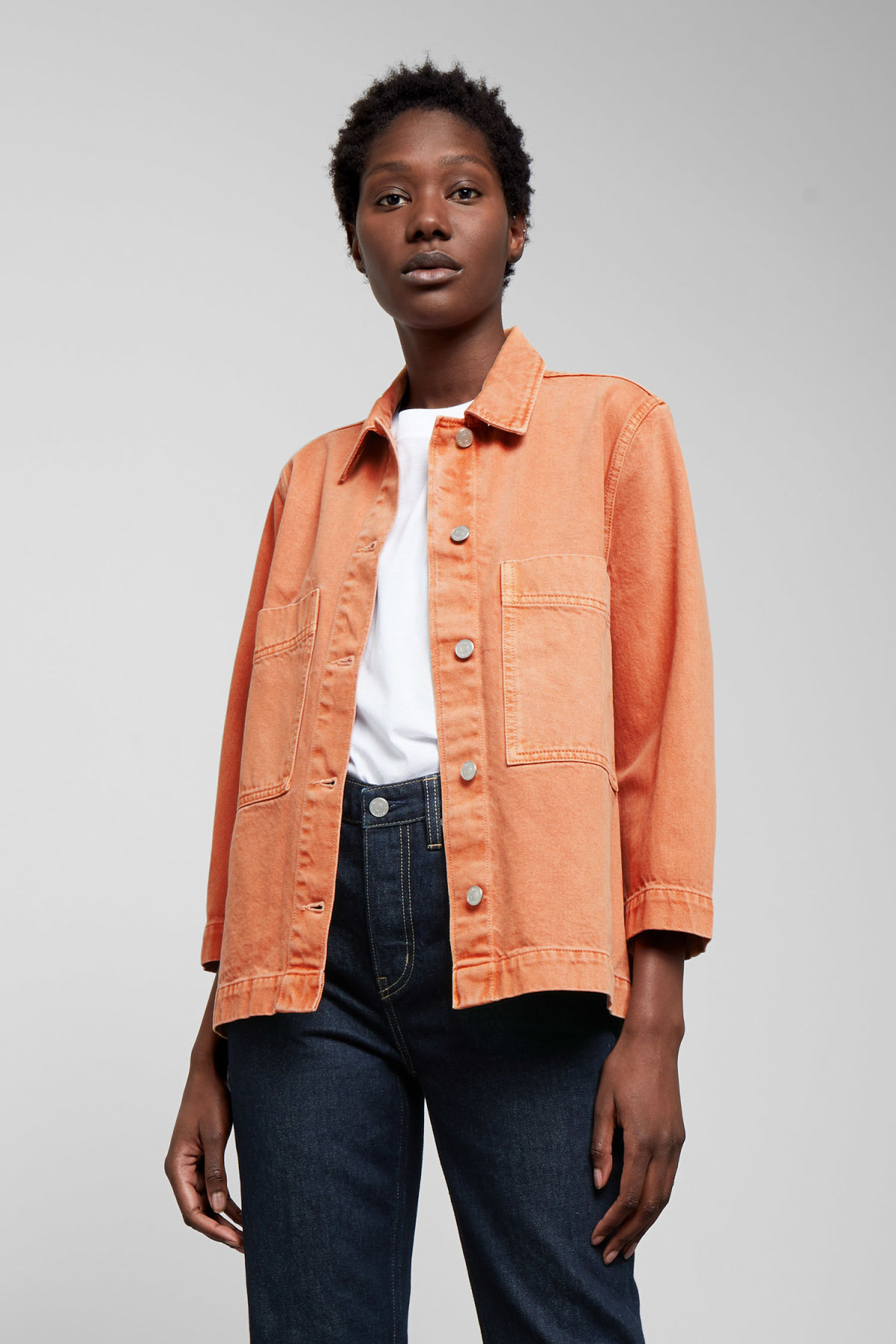 Model front image of Weekday trip tangerine denim jacket  in orange