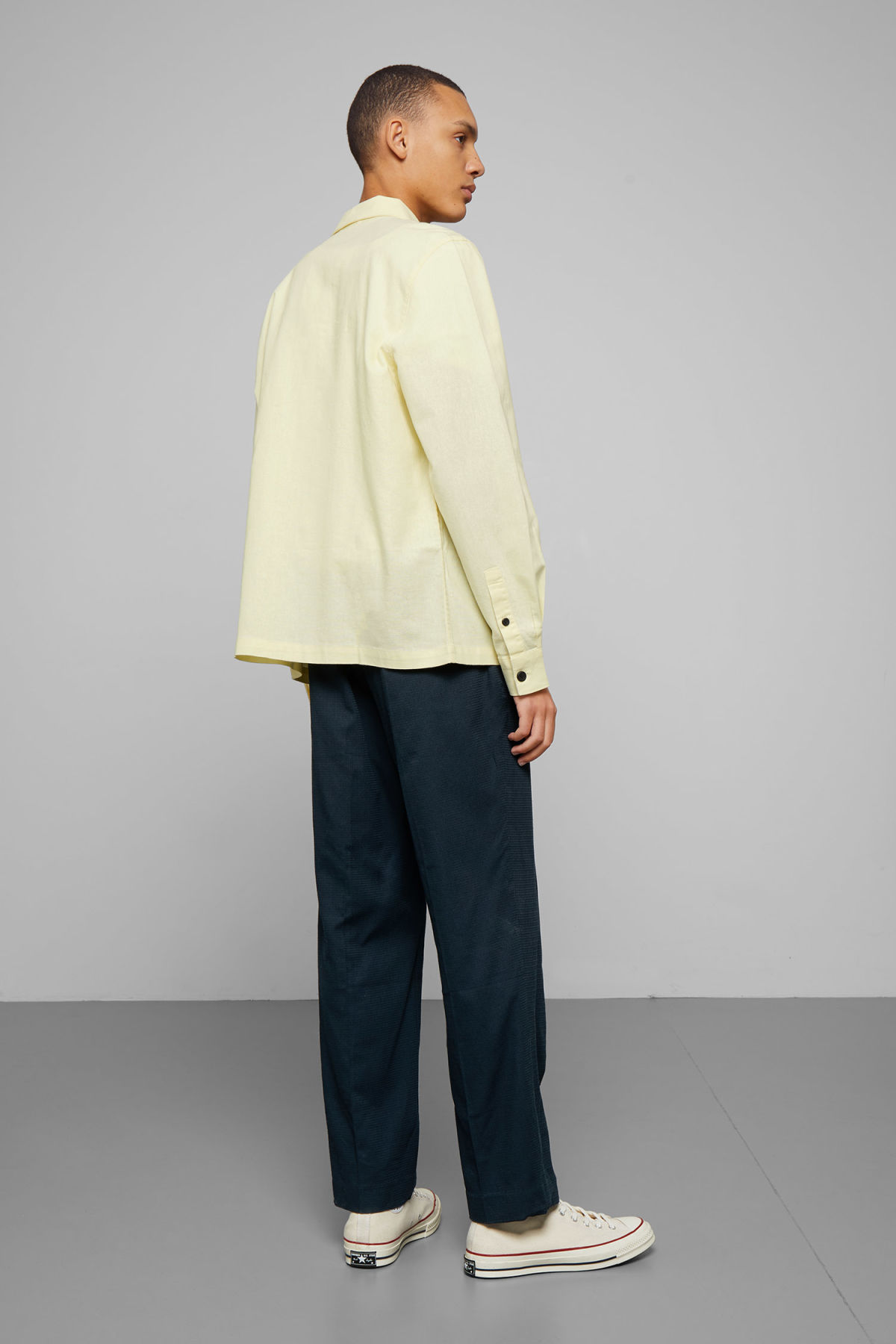 Model back image of Weekday temp linen zip shirt in yellow