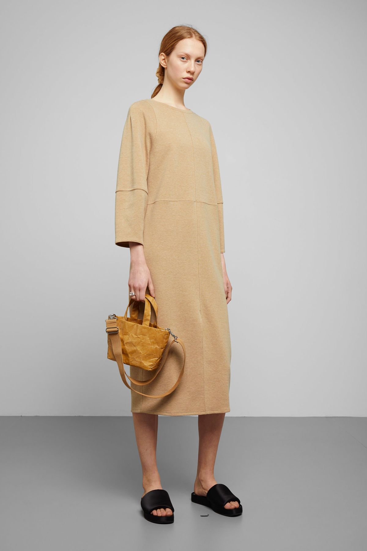 Model front image of Weekday rena dress in beige
