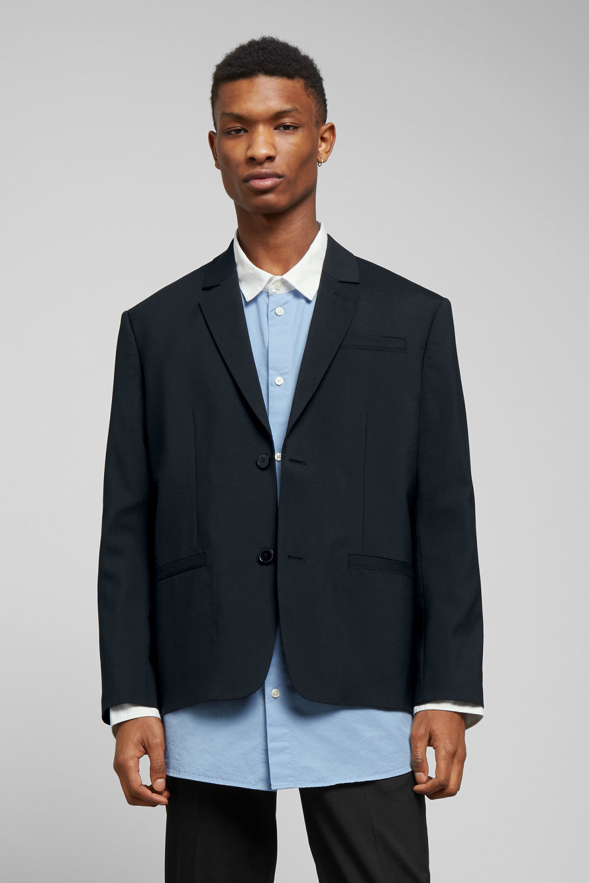 Model front image of Weekday marzio wool blend suit jacket in black