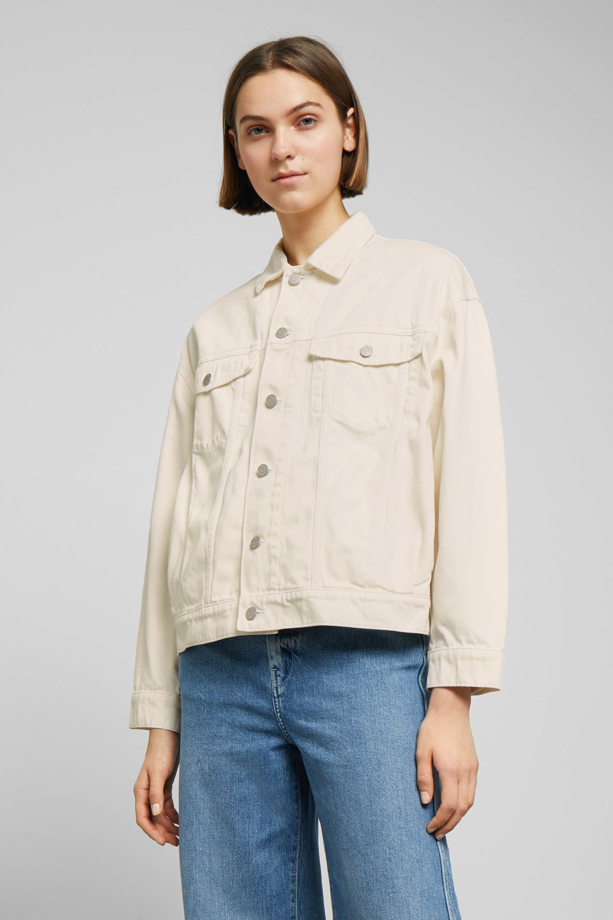 Model front image of Weekday dune white denim jacket in white