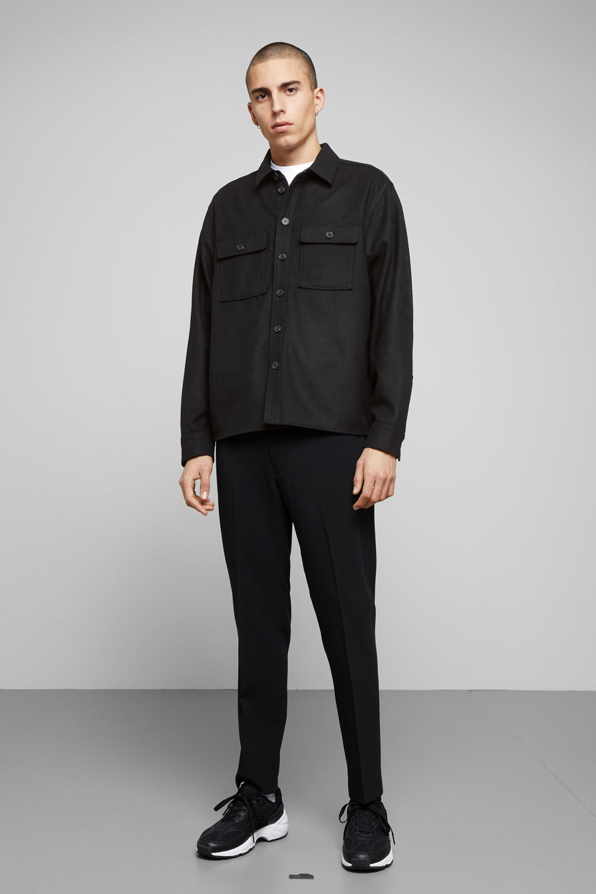 Model side image of Weekday skipper shirt in black