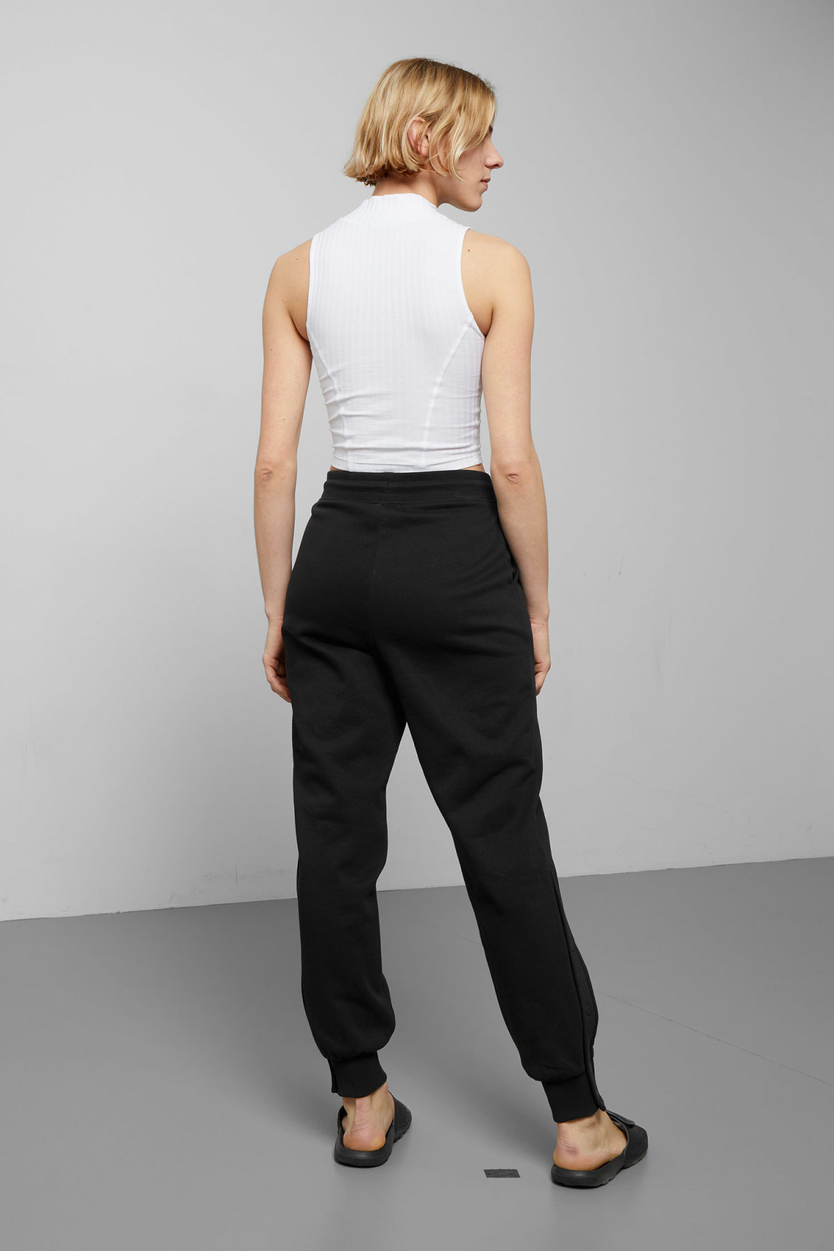 Model side image of Weekday alena sweatpants in black