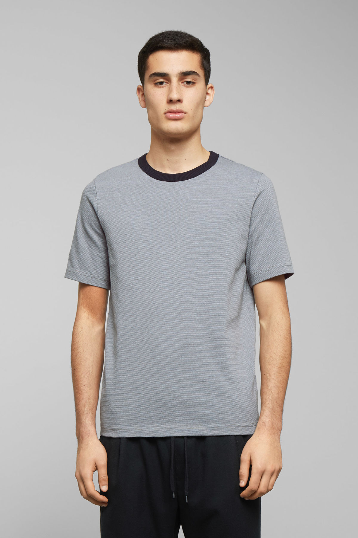 Model front image of Weekday grinko stripe t-shirt in blue