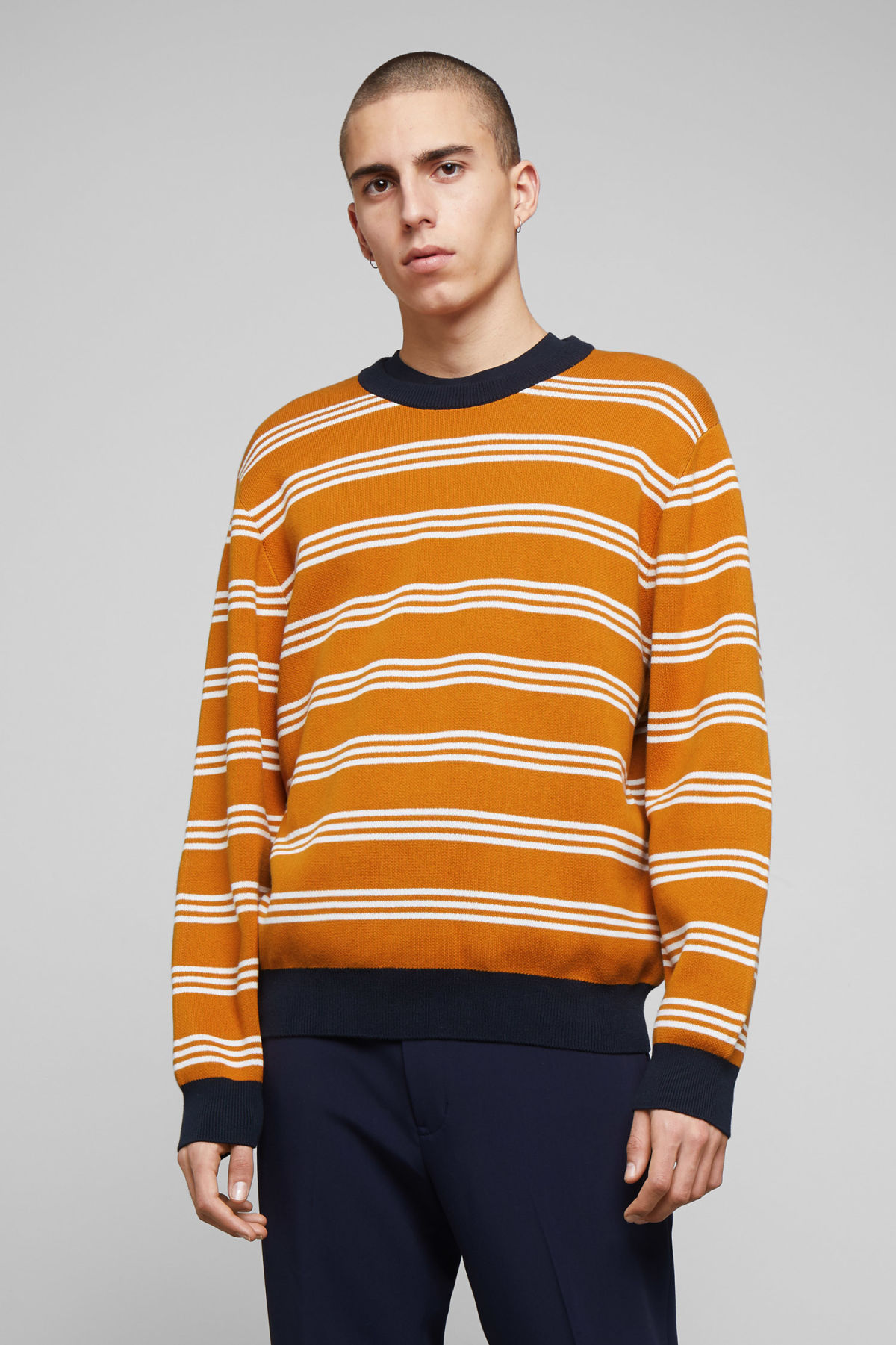 Model front image of Weekday johan striped sweater in yellow
