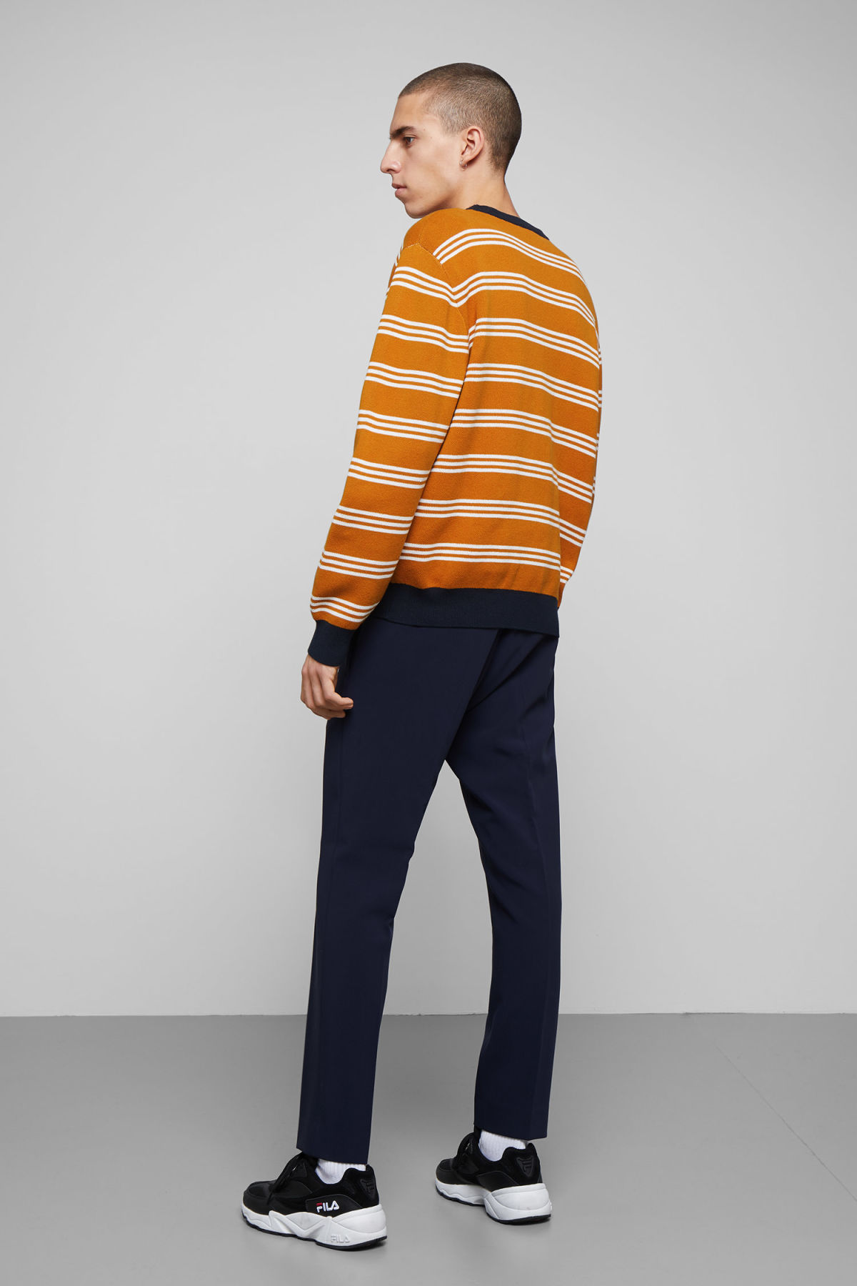 Model back image of Weekday johan striped sweater in yellow