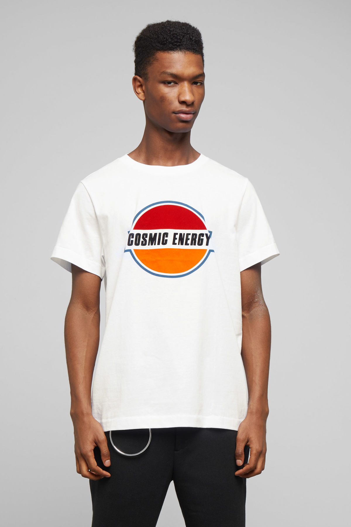 Model front image of Weekday pictor cosmic t-shirt in white
