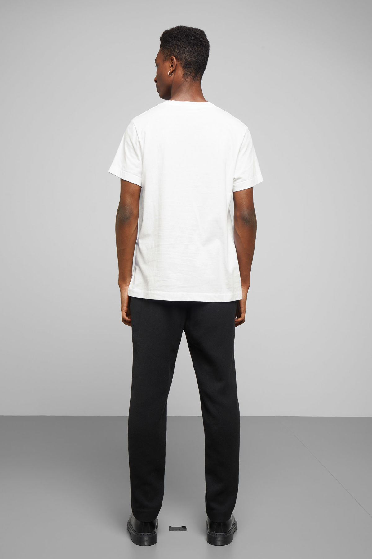 Model back image of Weekday pictor cosmic t-shirt in white