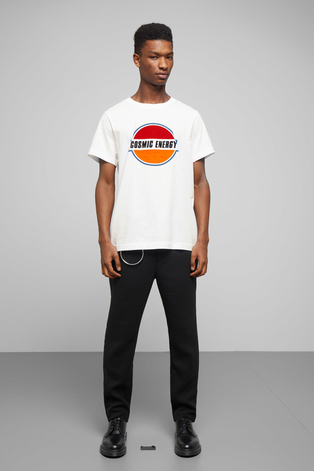 Model side image of Weekday pictor cosmic t-shirt in white