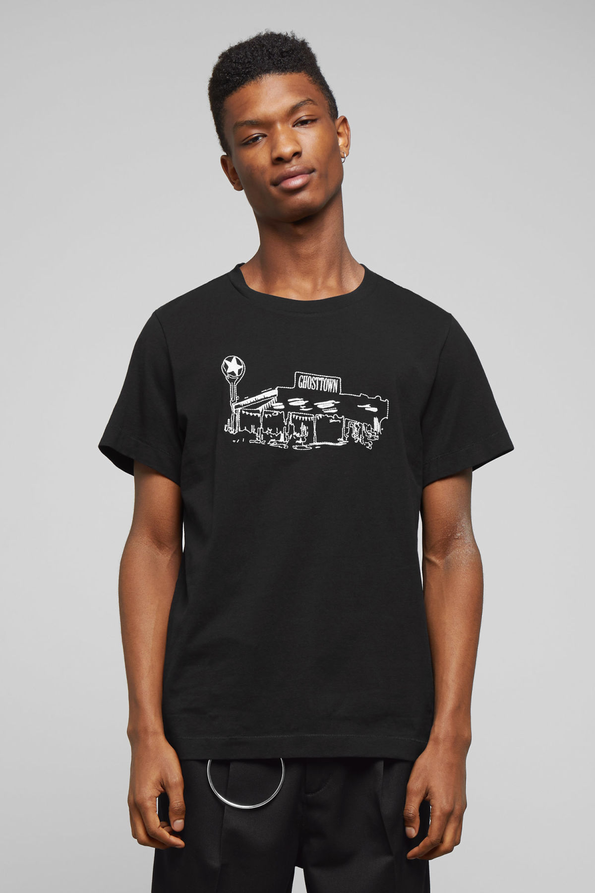 Model front image of Weekday pictor ghost t-shirt in black