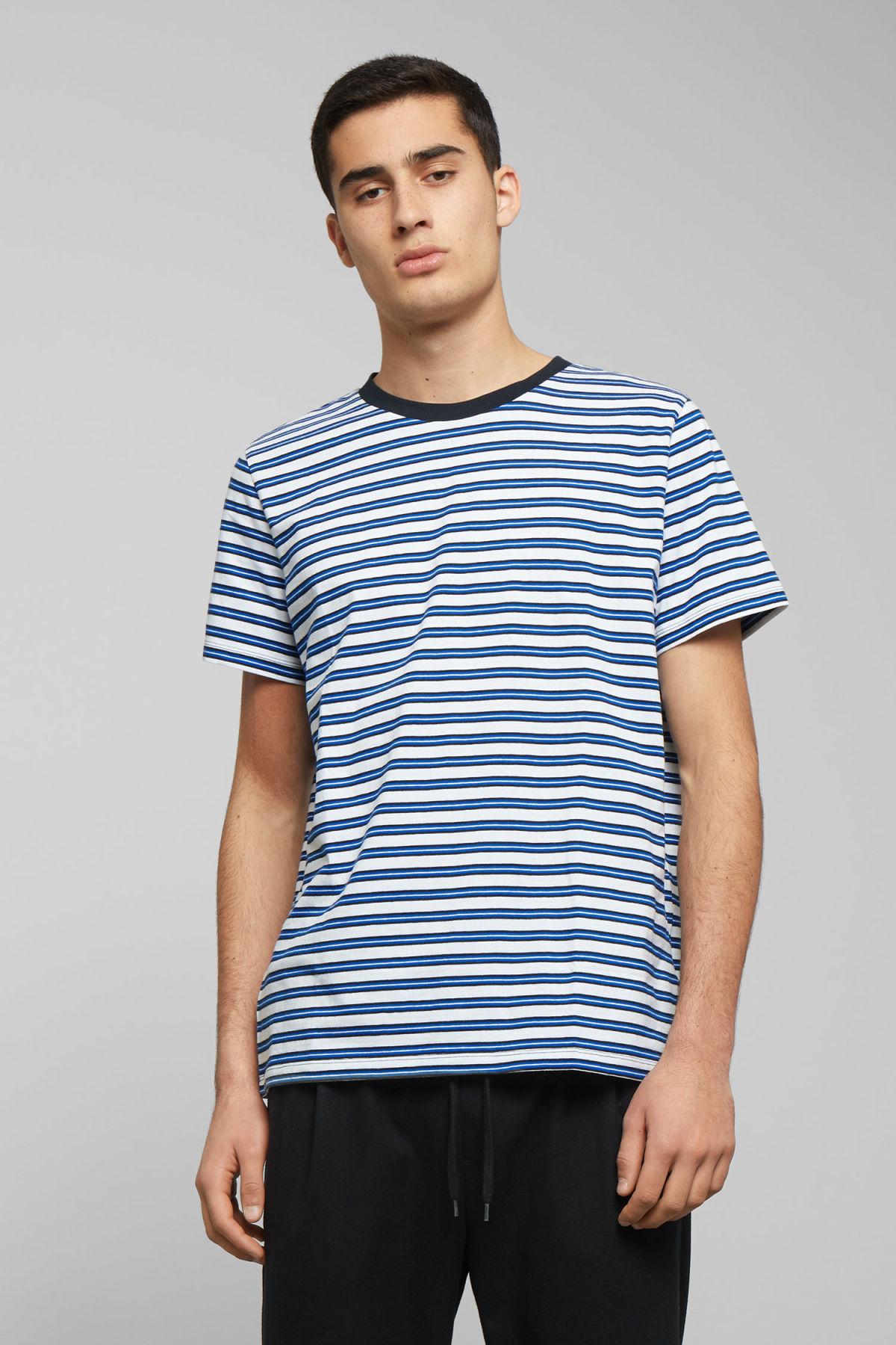 Model front image of Weekday home stripes t-shirt  in blue