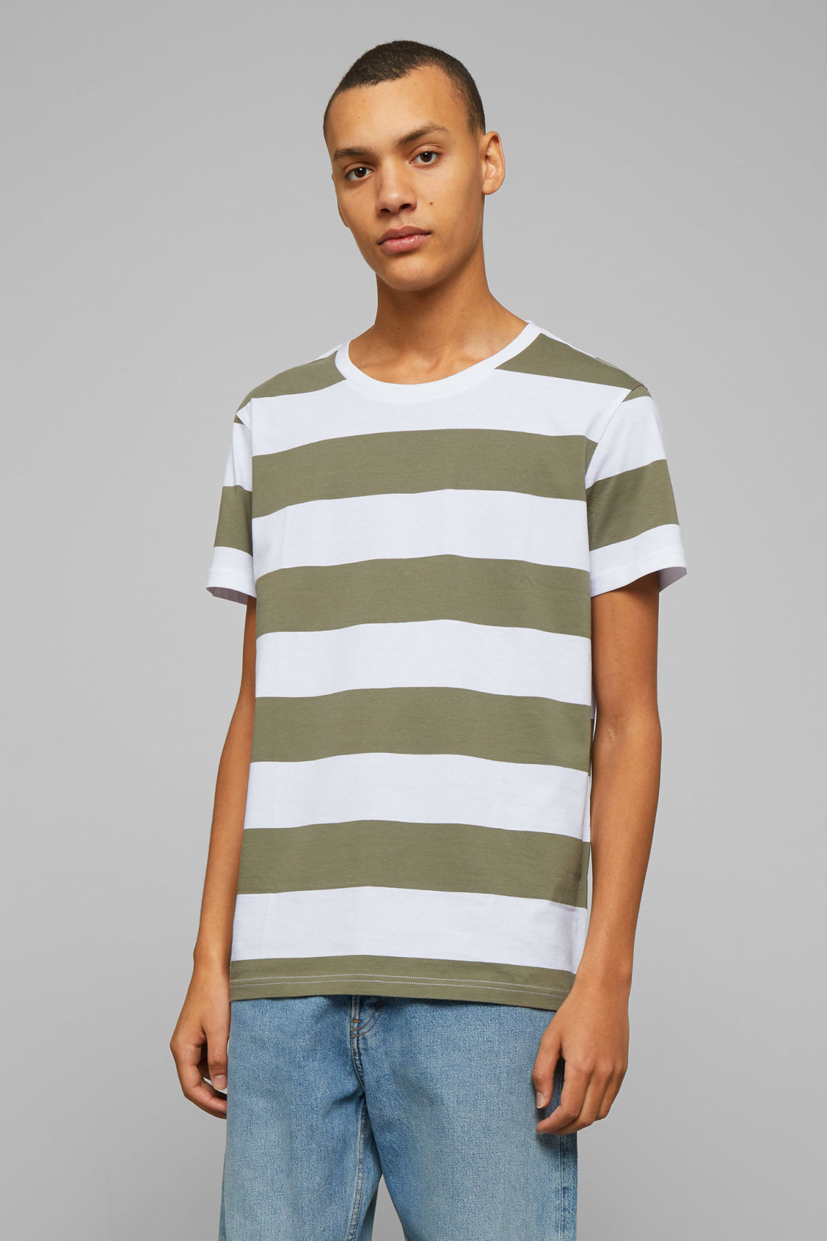 Model front image of Weekday alex stripe t-shirt in green