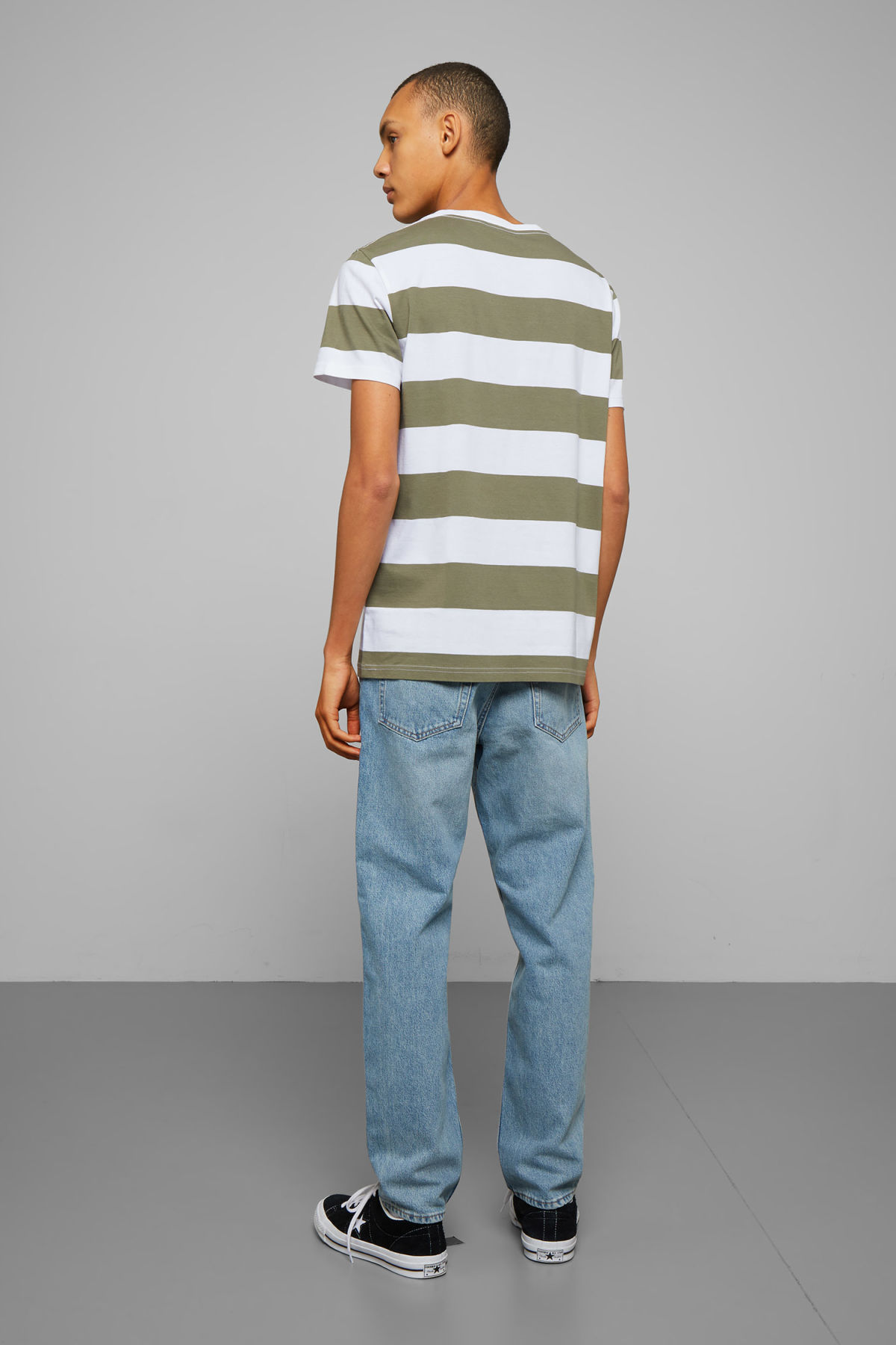 Model back image of Weekday alex stripe t-shirt in green