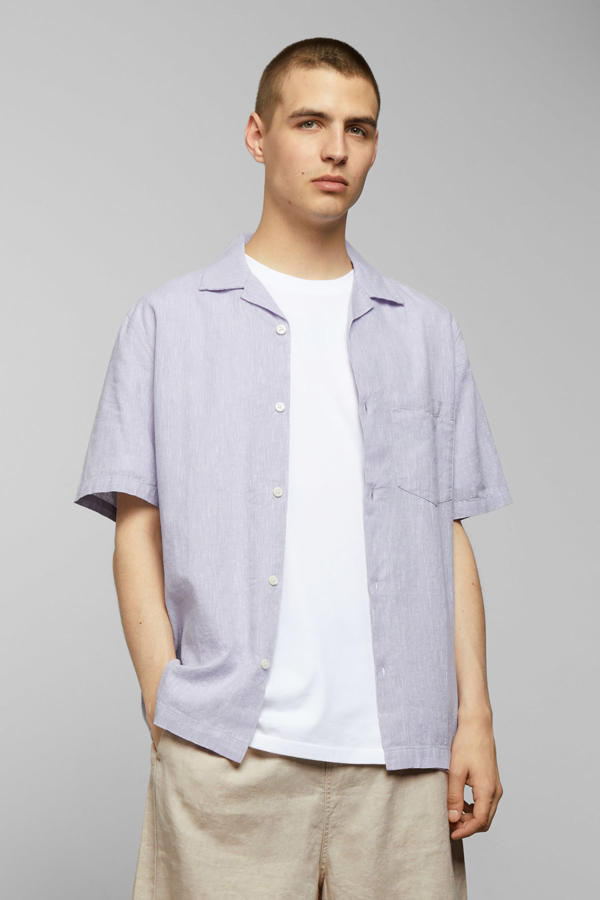 Model front image of Weekday chill striped short sleeve shirt in purple