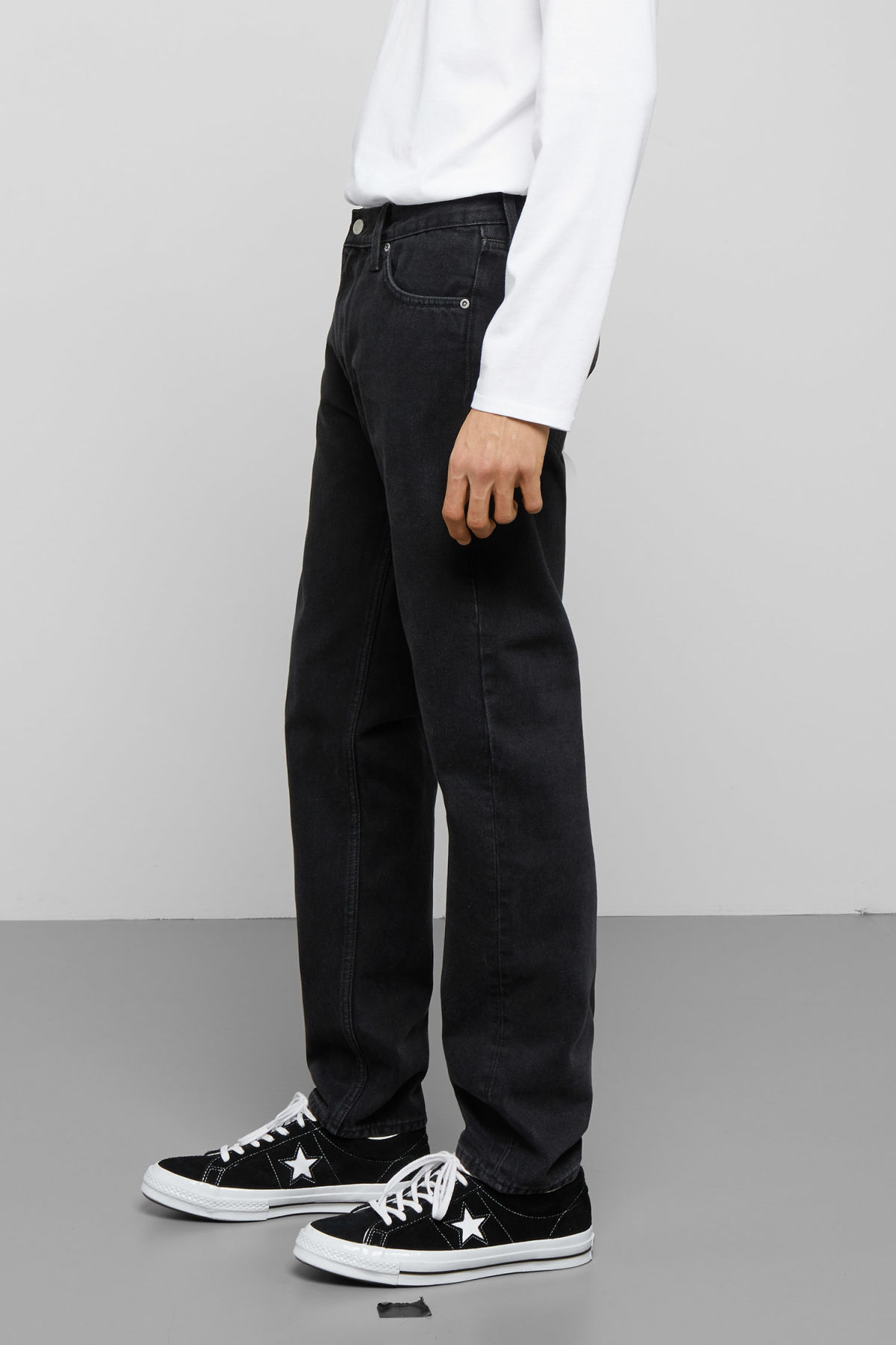 Model side image of Weekday barrel tune black jeans in black
