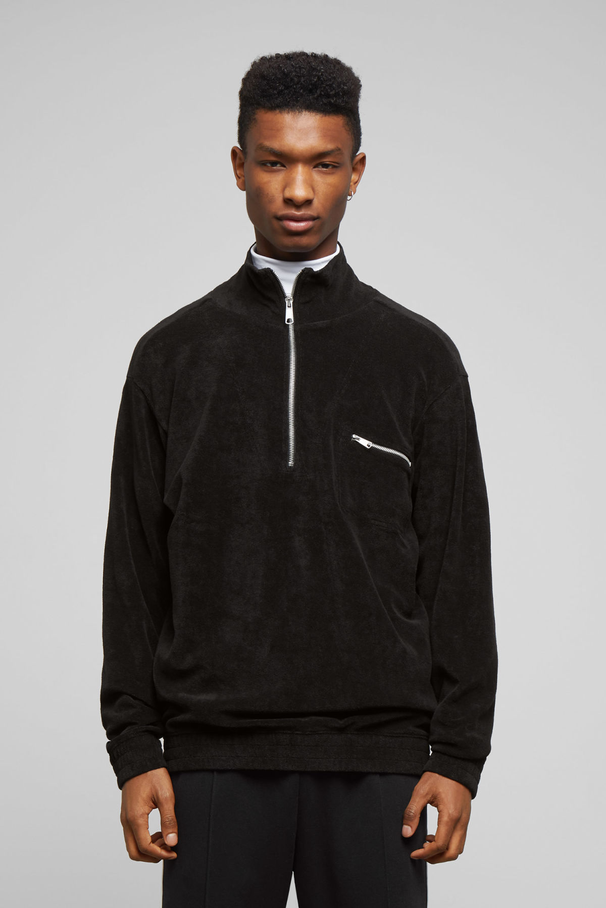 Model front image of Weekday terry halfzip sweatshirt in black