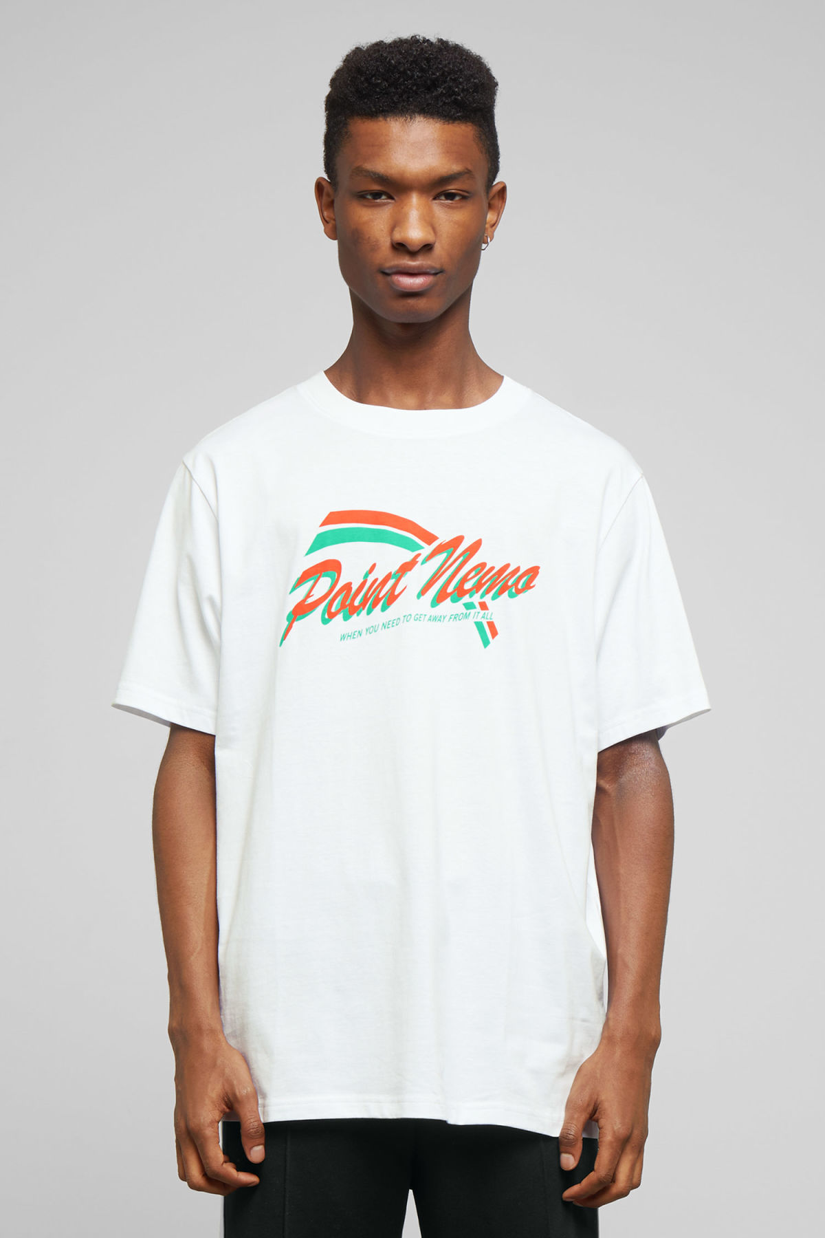 Model front image of Weekday frank point nemo t-shirt in white