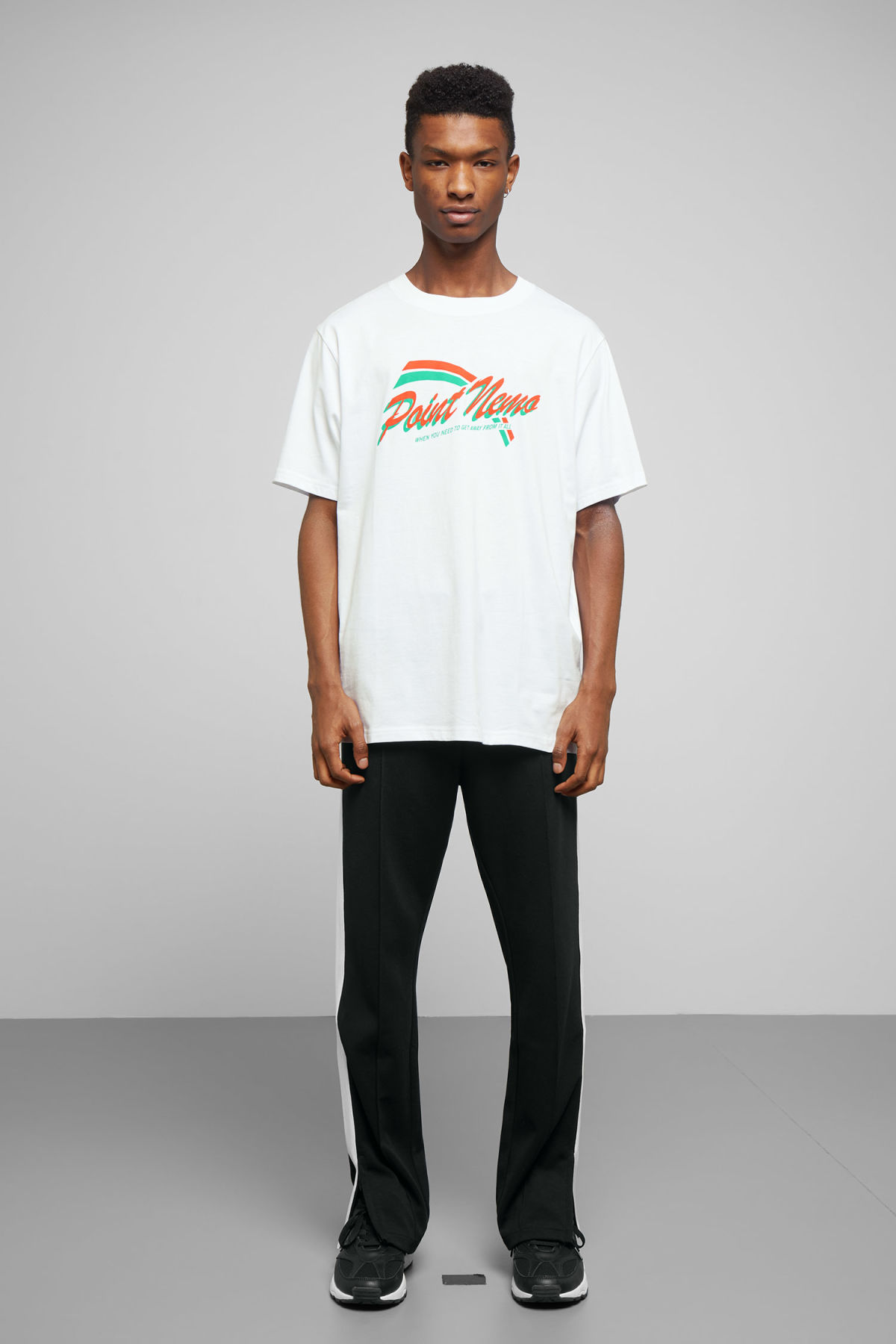Model side image of Weekday frank point nemo t-shirt in white